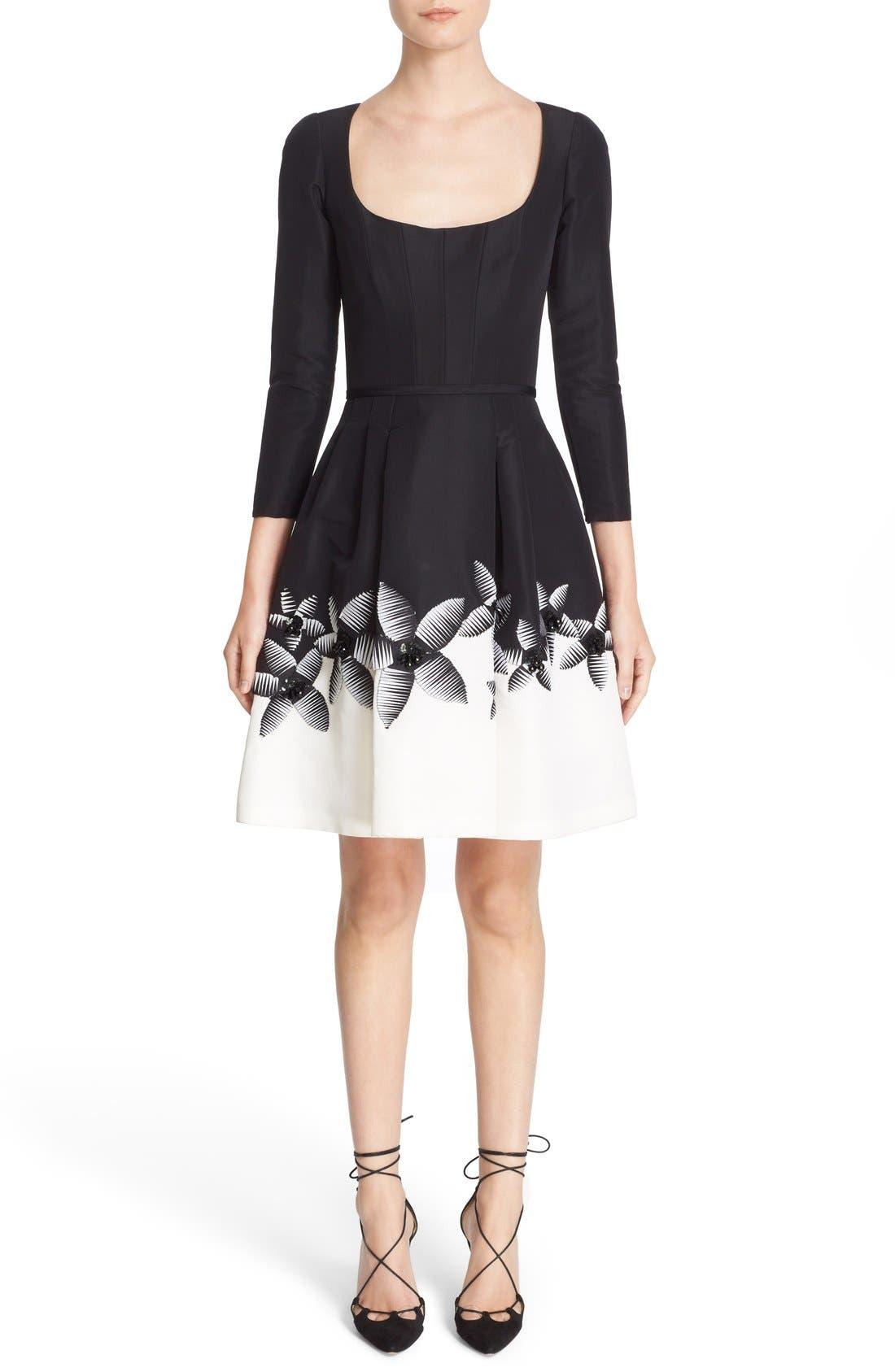 Alternate Image 1 Selected - Carolina Herrera Embellished Two-Tone Scoop Neck Faille Fit & Flare Dress