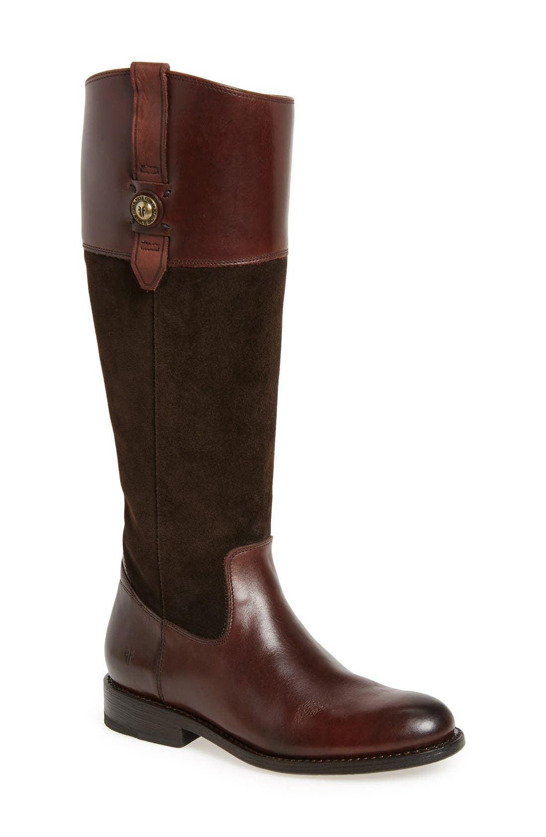 'Jayden Button' Tall Boot,                             Main thumbnail 1, color,                             Chocolate Oiled Suede