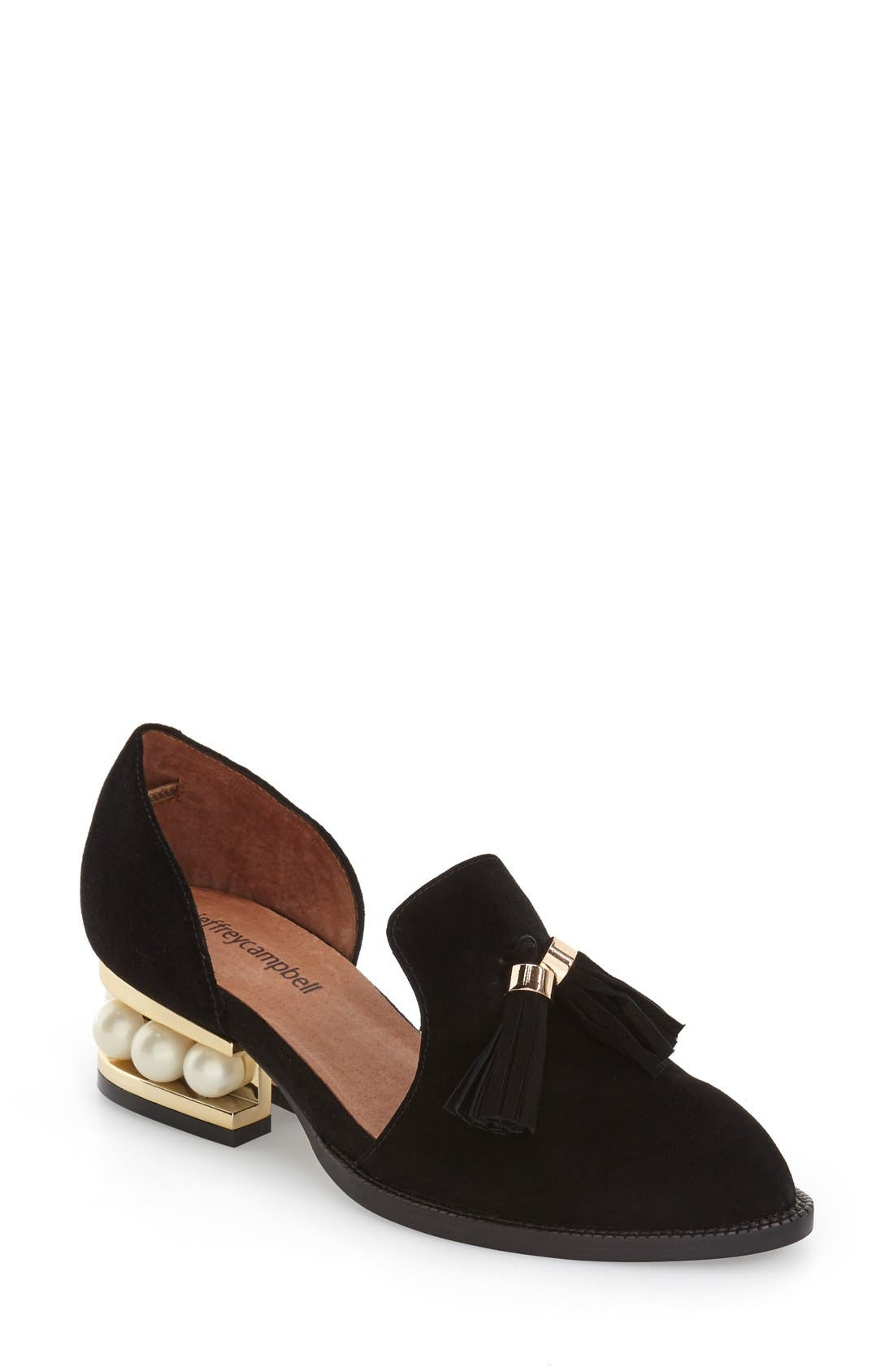 Alternate Image 1 Selected - Jeffrey Campbell 'Civil' Pearly Heeled Beaded Tassel Loafer (Women)