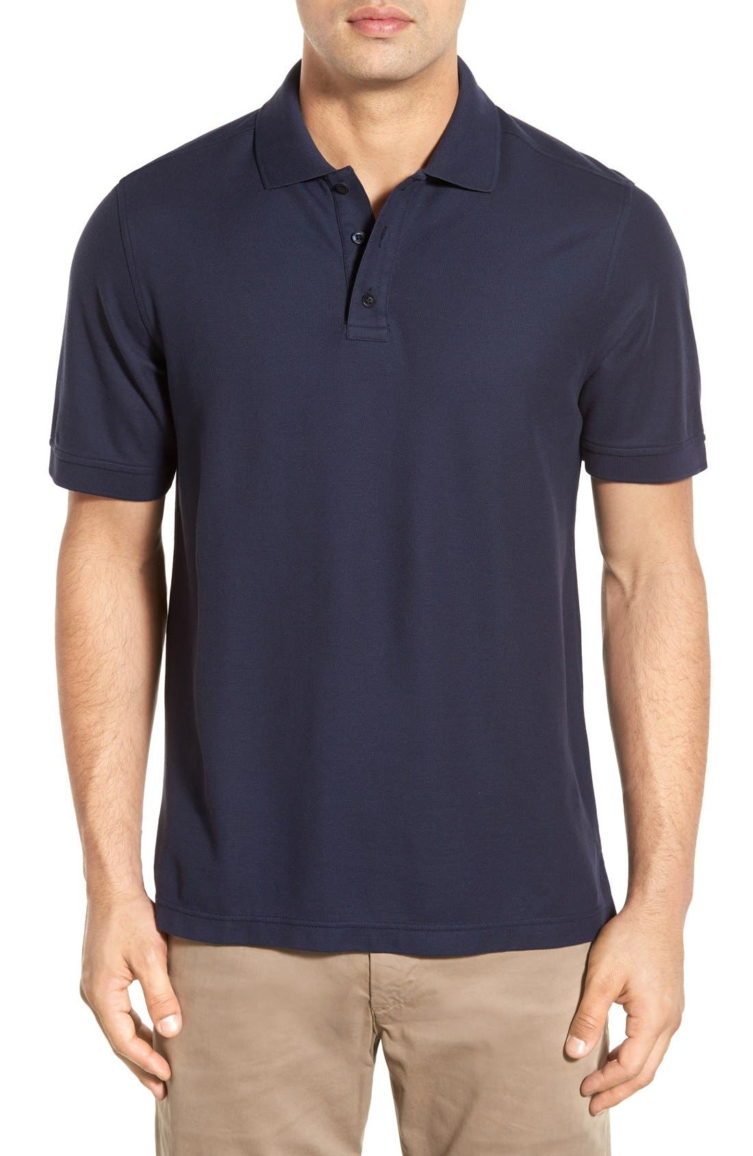 Classic Regular Fit Piqué Polo,                             Main thumbnail 1, color,                             Navy