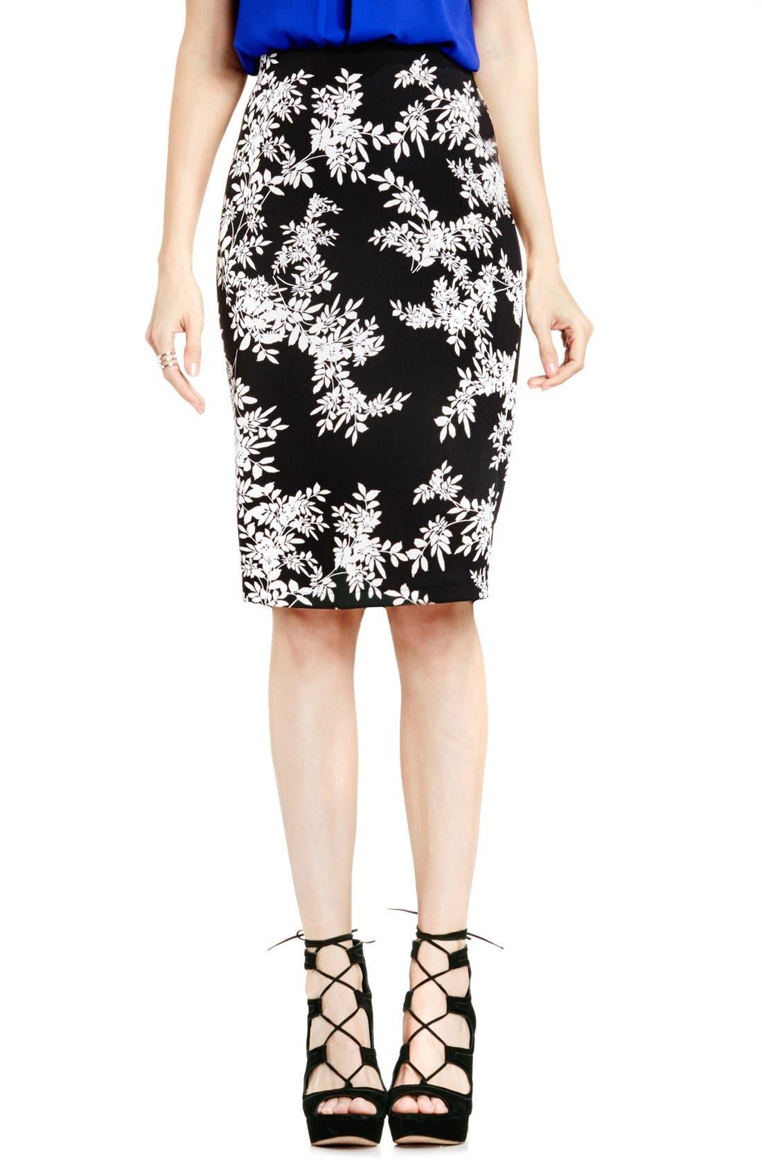 Main Image - Vince Camuto Print Scuba Knit Pencil Skirt (Regular & Petite)