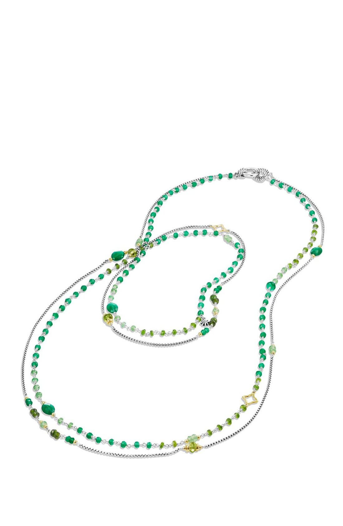 David Yurman 'Bead and Chain' Bead Necklace with Carnelian, Garnet & 18K Gold