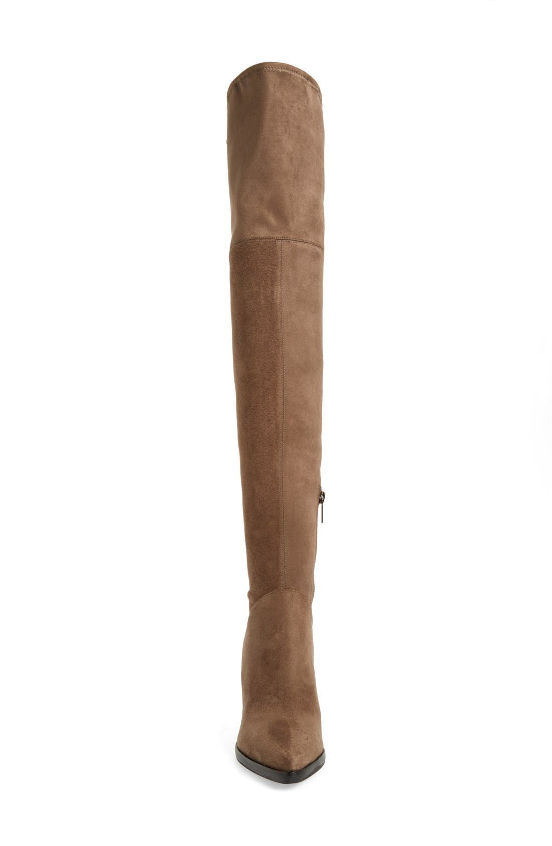 'Alinda' Over the Knee Boot,                             Alternate thumbnail 3, color,                             Tan Stretch Fabric