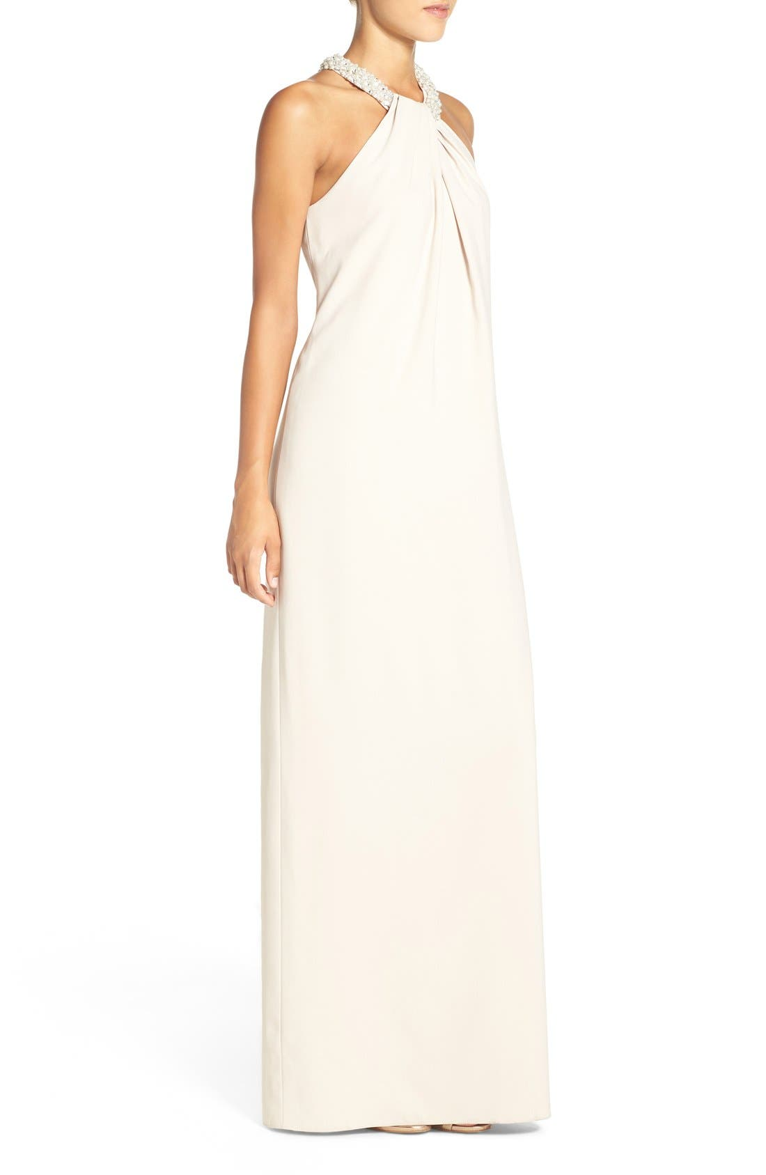 Alternate Image 4  - Dessy Collection Beaded Halter Neck Crepe Gown