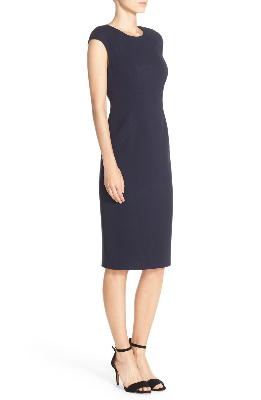 Cap Sleeve Crepe Sheath Dress,                             Alternate thumbnail 3, color,                             Navy
