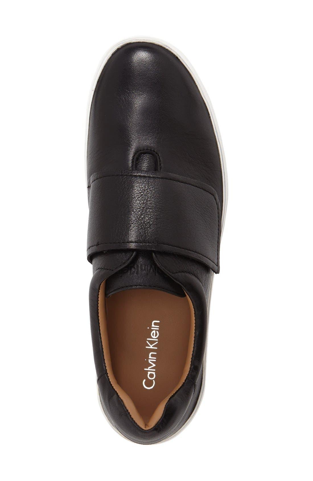 'Jaiden' Platform Sneaker,                             Alternate thumbnail 3, color,                             Black Leather