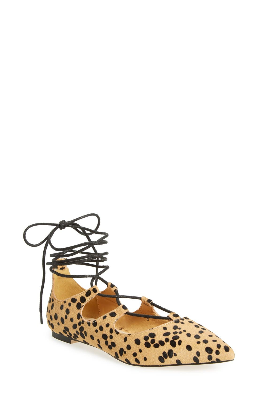 'Rian' Ghillie Lace Pointy Toe Flat,                         Main,                         color, Leopard Haircalf