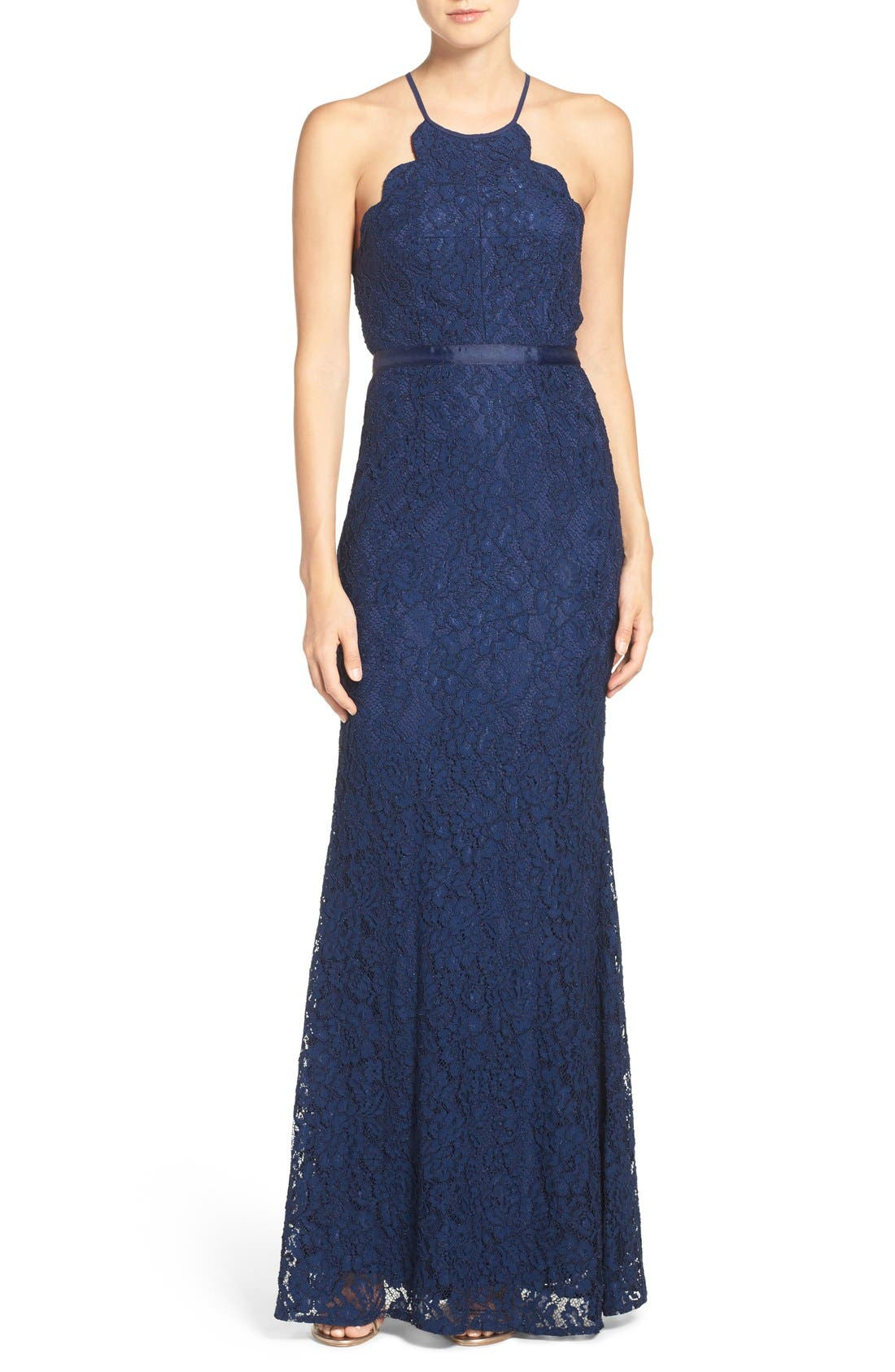 Spaghetti Strap Scallop Lace Mermaid Gown,                             Main thumbnail 1, color,                             Navy