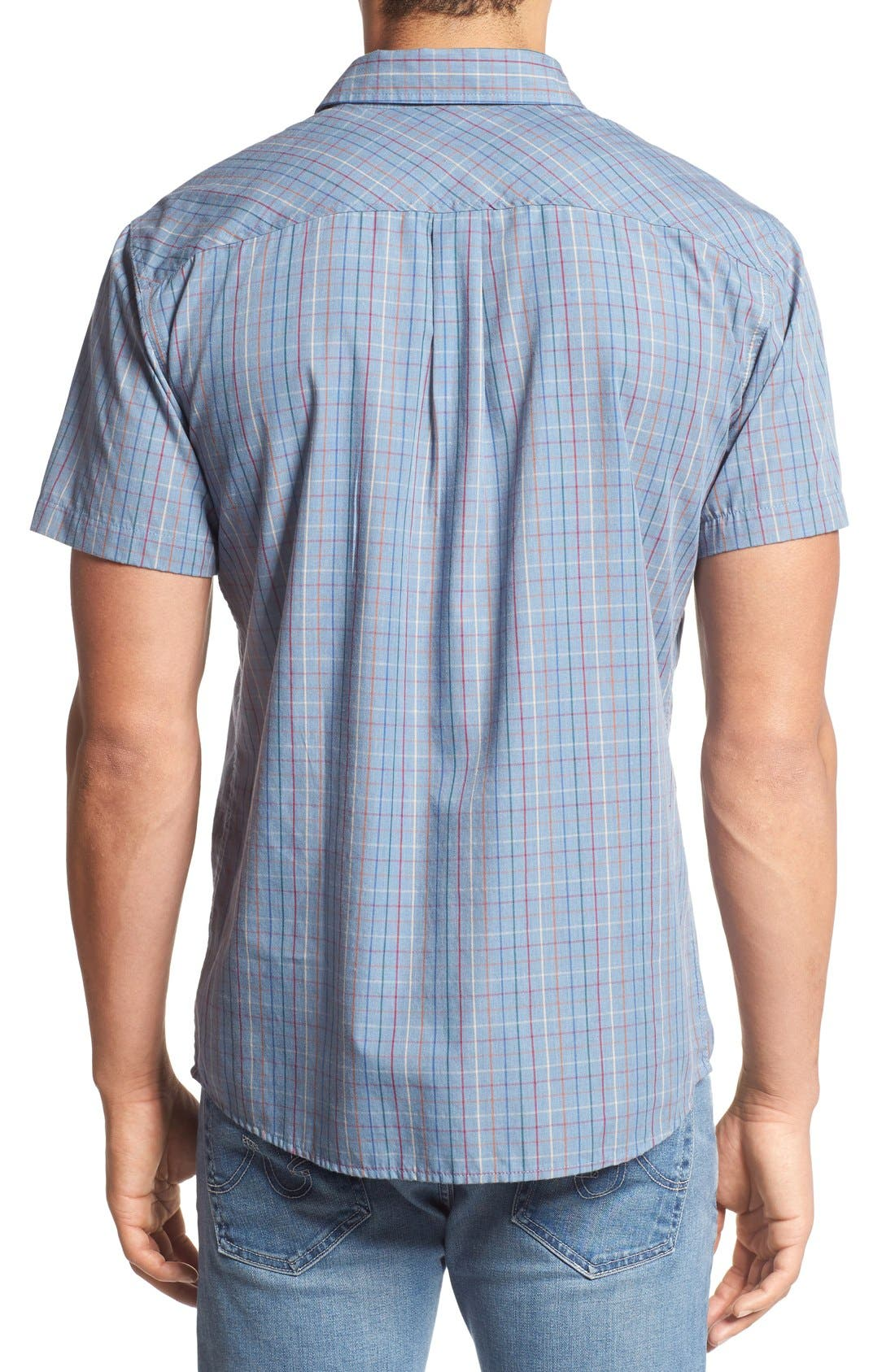 'Memphis' Trim Fit Plaid Short Sleeve Woven Shirt,                             Alternate thumbnail 2, color,                             Washed Blue