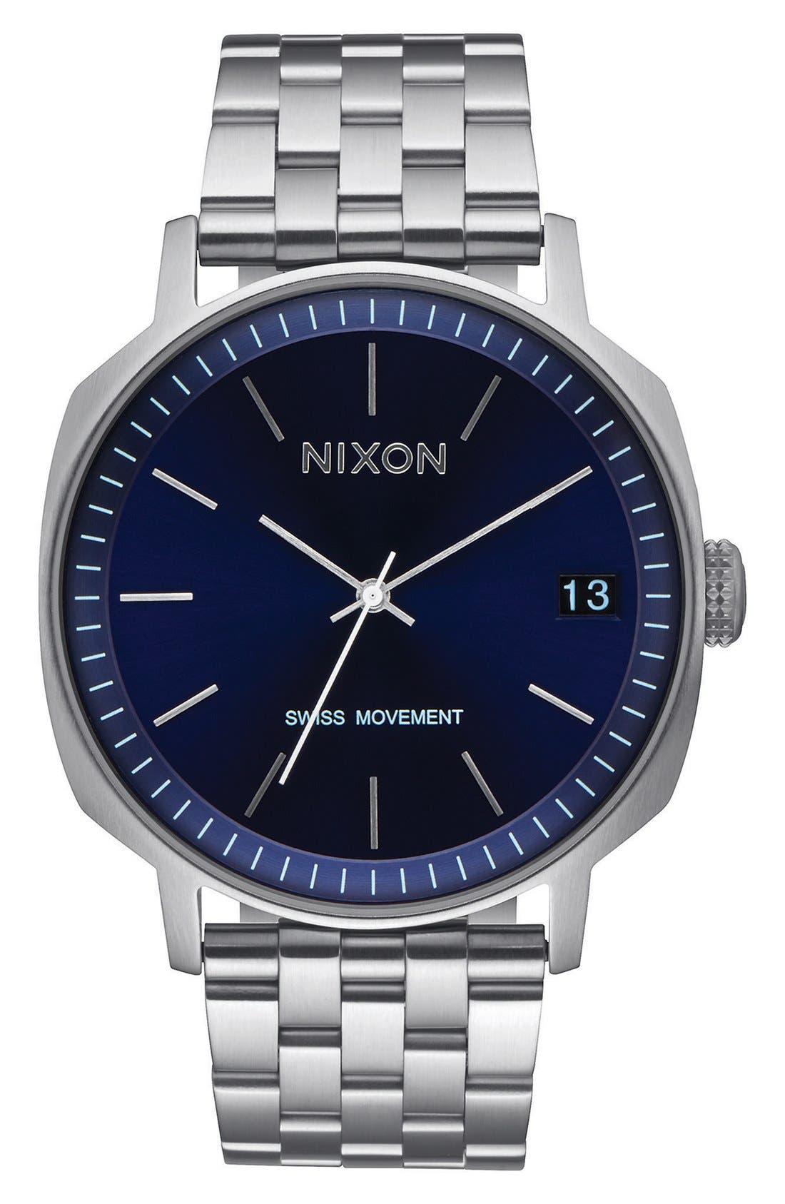 'The Regent II' Bracelet Watch, 42mm,                         Main,                         color, Silver/ Navy