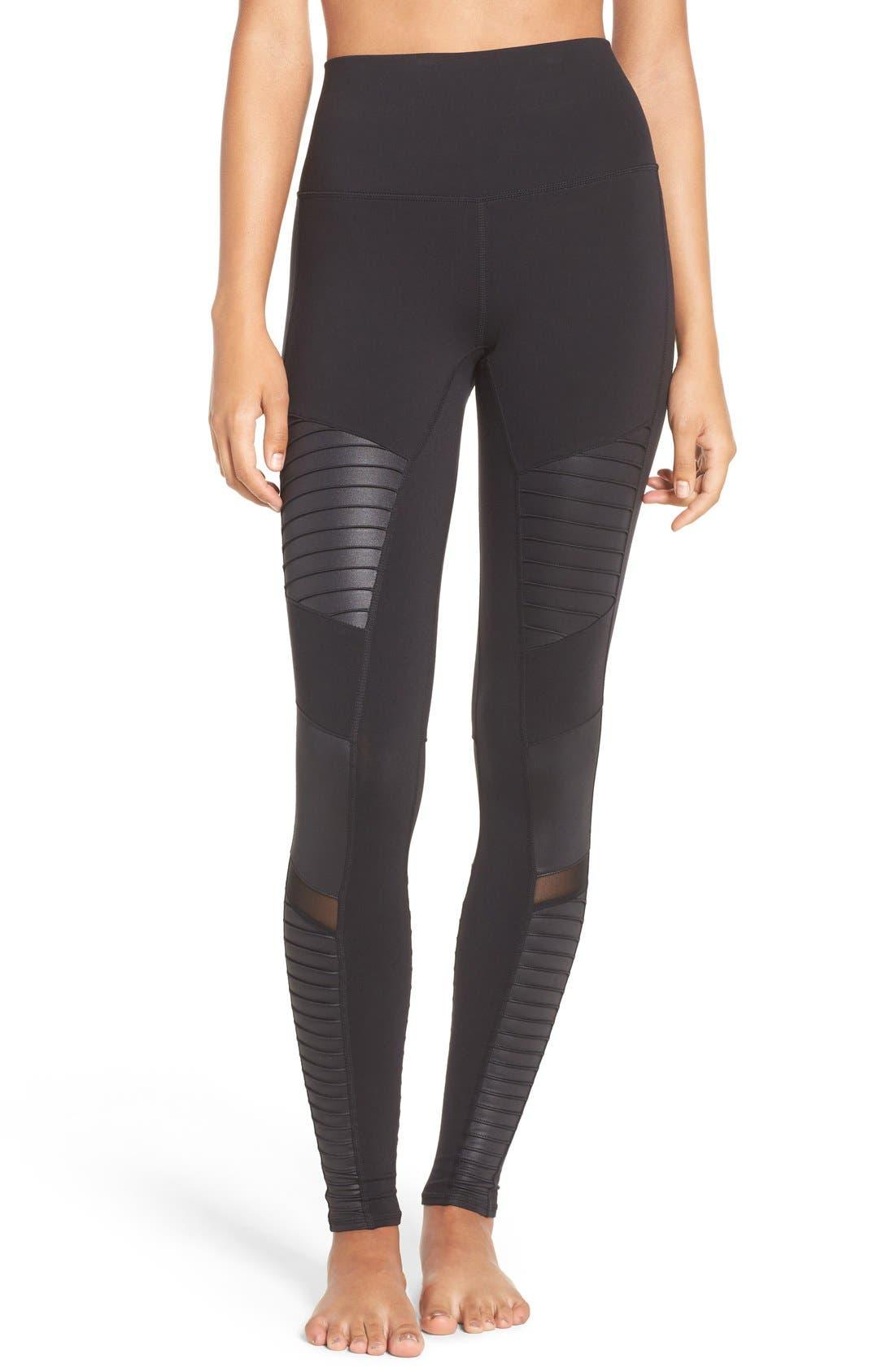 High Waist Moto Leggings,                         Main,                         color, Black/ Black Glossy