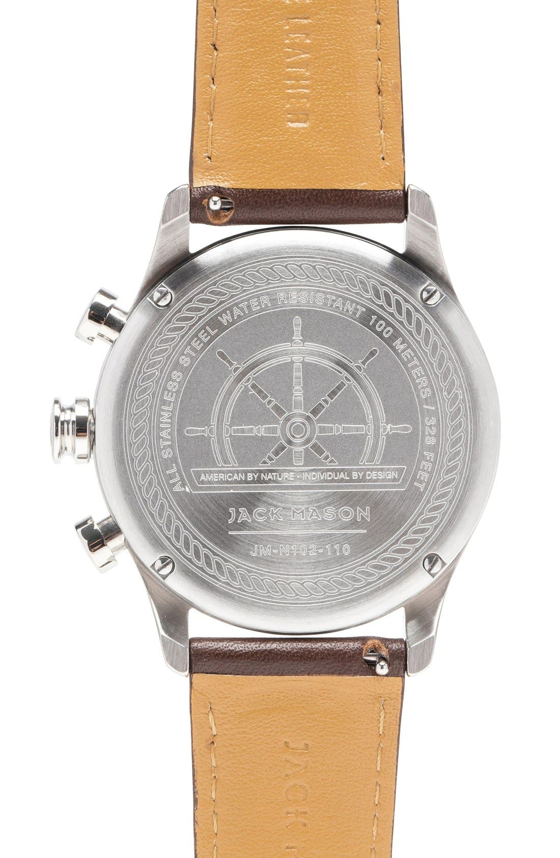 Nautical Chronograph Leather Strap Watch, 42mm,                             Alternate thumbnail 2, color,                             White/ Dark Brown