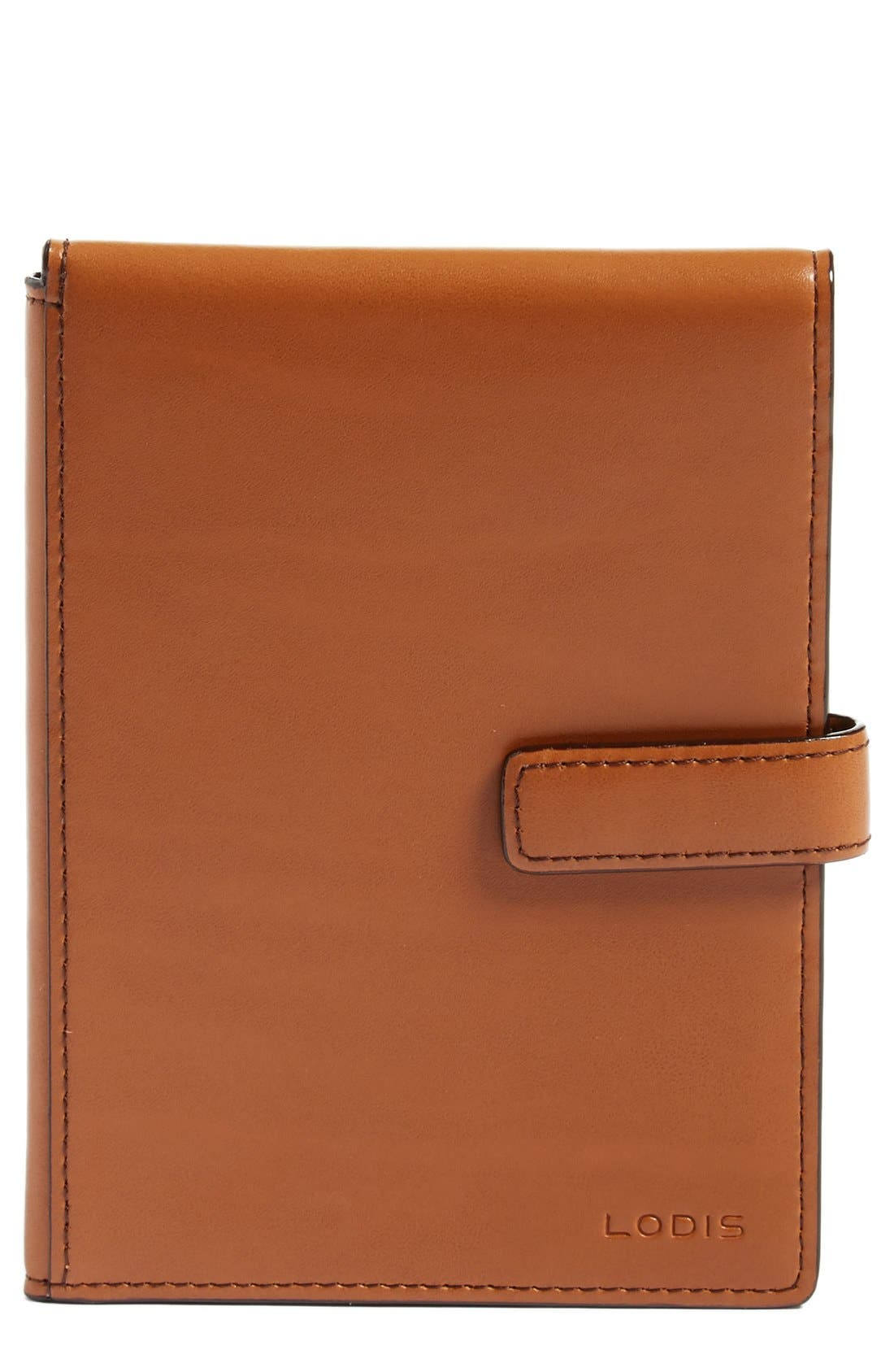 Audrey RFID Leather Passport Wallet,                         Main,                         color, Toffee