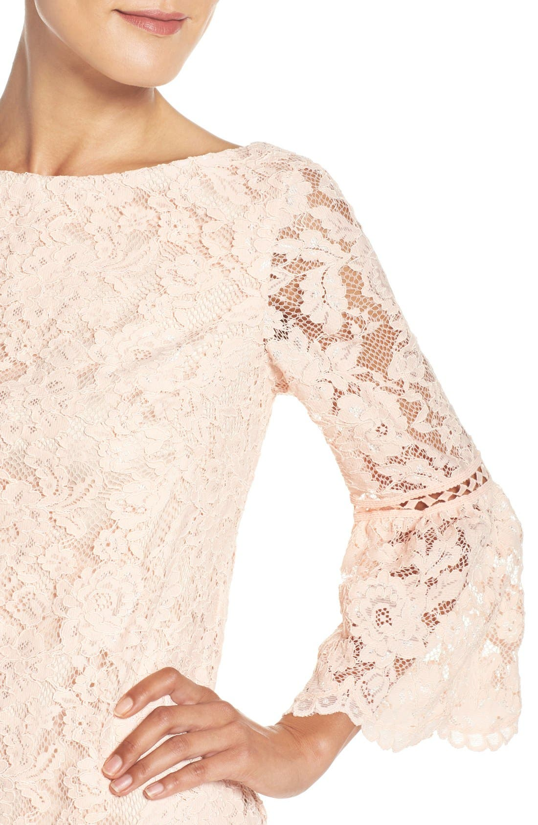 Alternate Image 4  - Eliza J Bell Sleeve Lace Shift Dress (Regular & Petite)