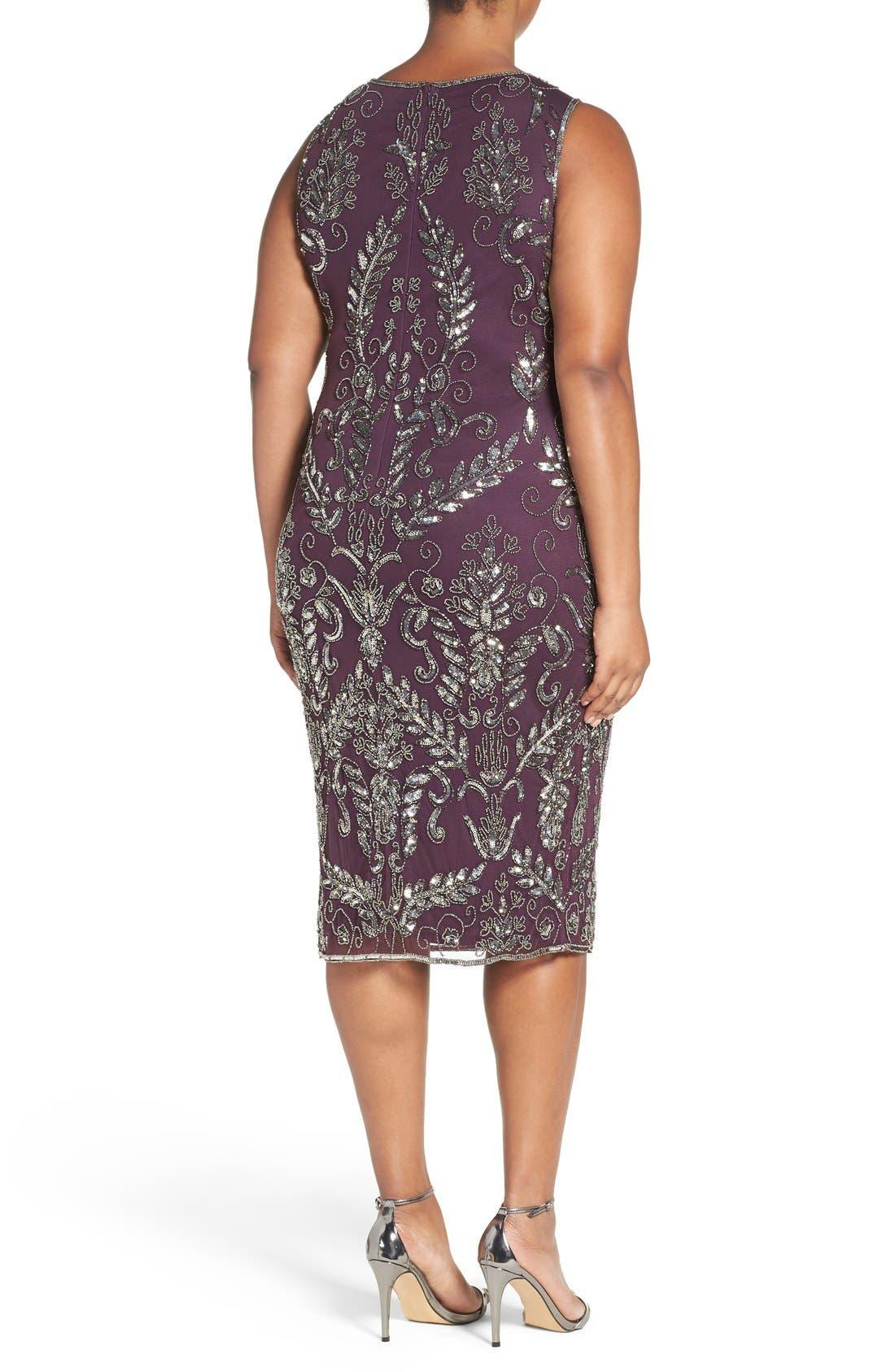 Embellished Tea Length Sheath Dress,                             Alternate thumbnail 2, color,                             Plum