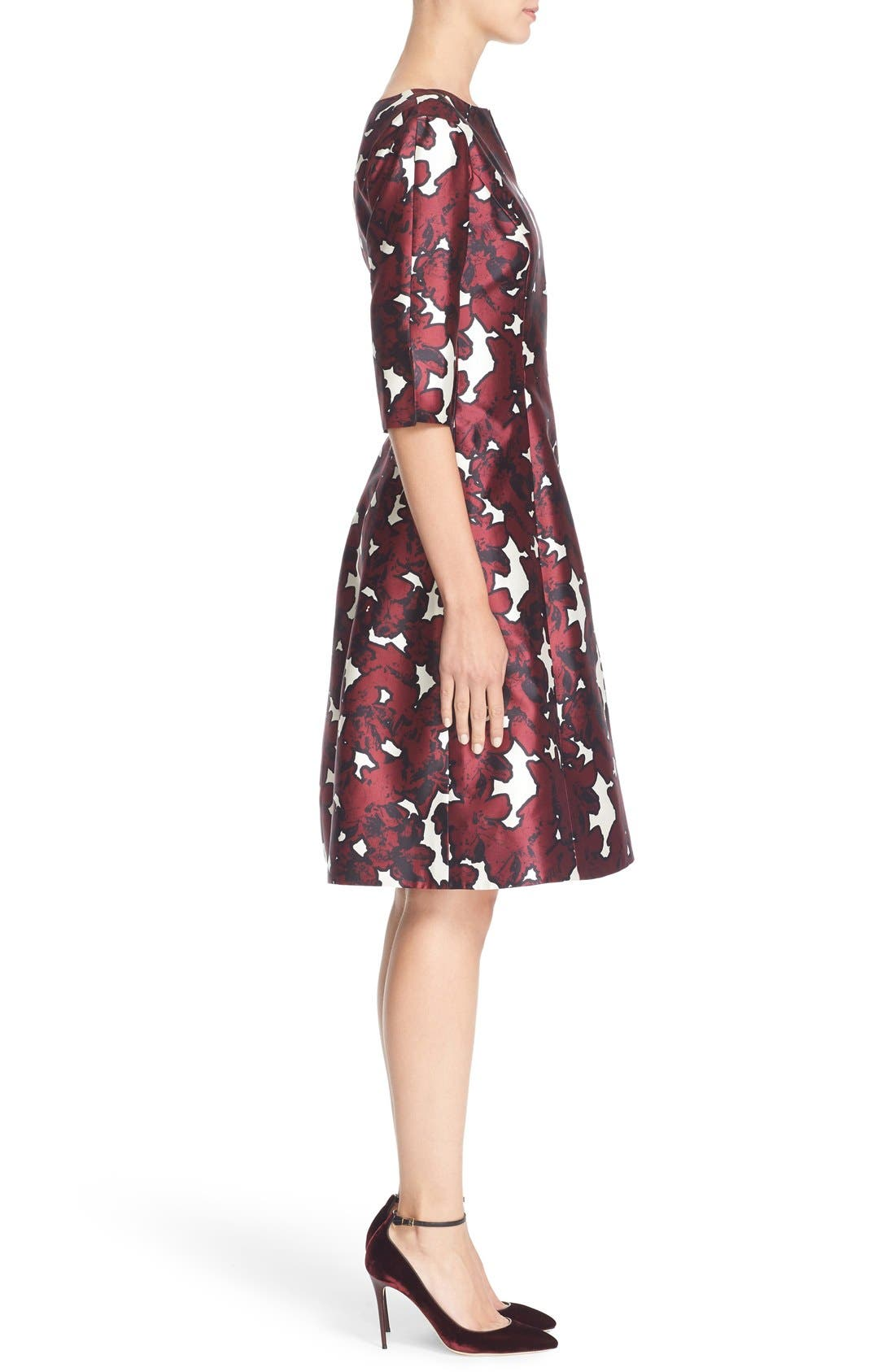 Alternate Image 5  - Oscar de la Renta 'Pressed Flowers' Print Silk Mikado Dress