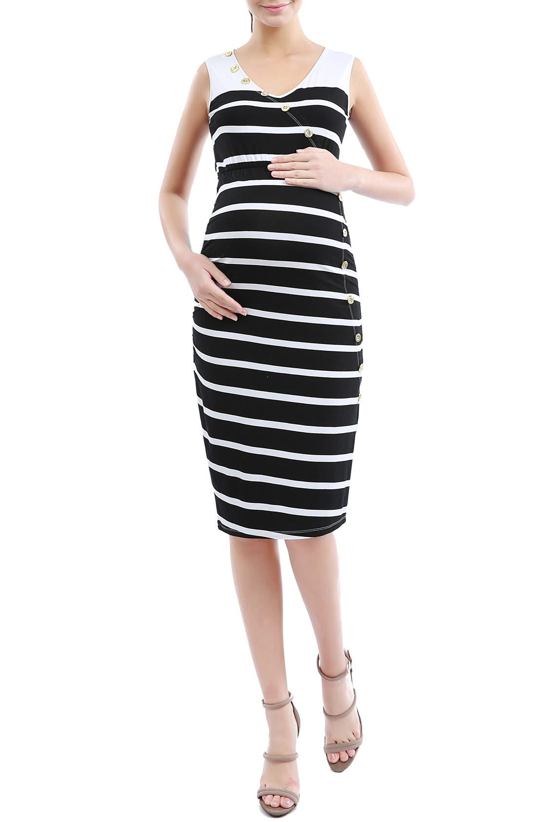 'Shea' Stripe Maternity Dress,                             Main thumbnail 1, color,                             Black/ White