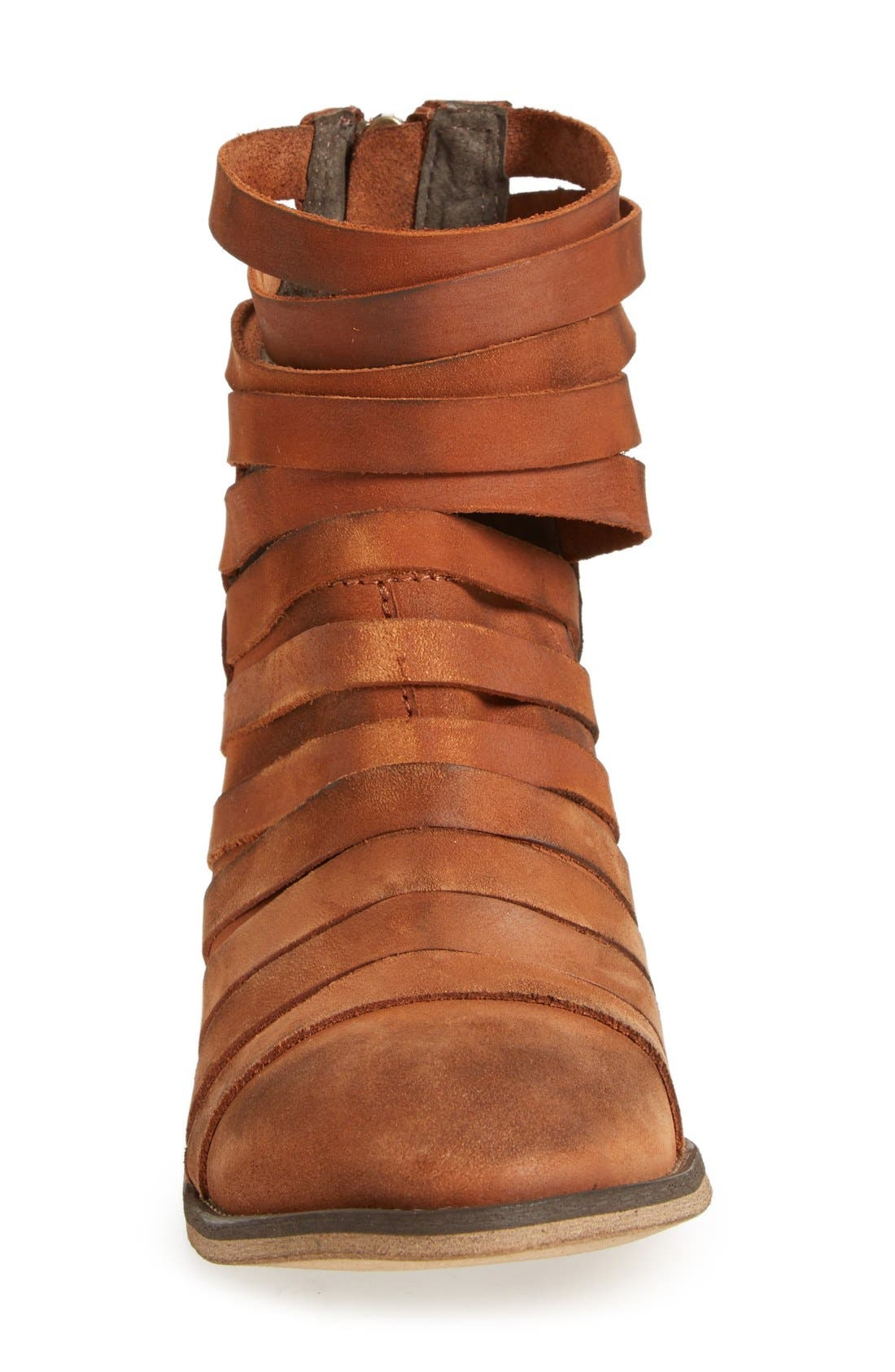 'Hybrid' Strappy Leather Bootie,                             Alternate thumbnail 3, color,                             Terracotta Leather