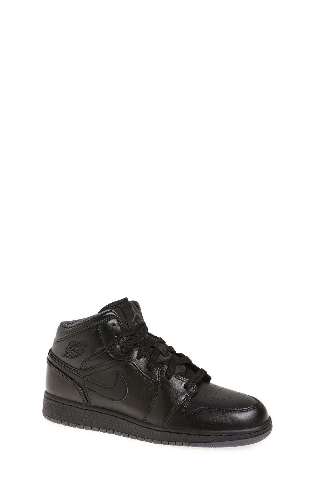 Nike 'Air Jordan 1 Mid' Sneaker,                             Main thumbnail 1, color,                             Black/ Black