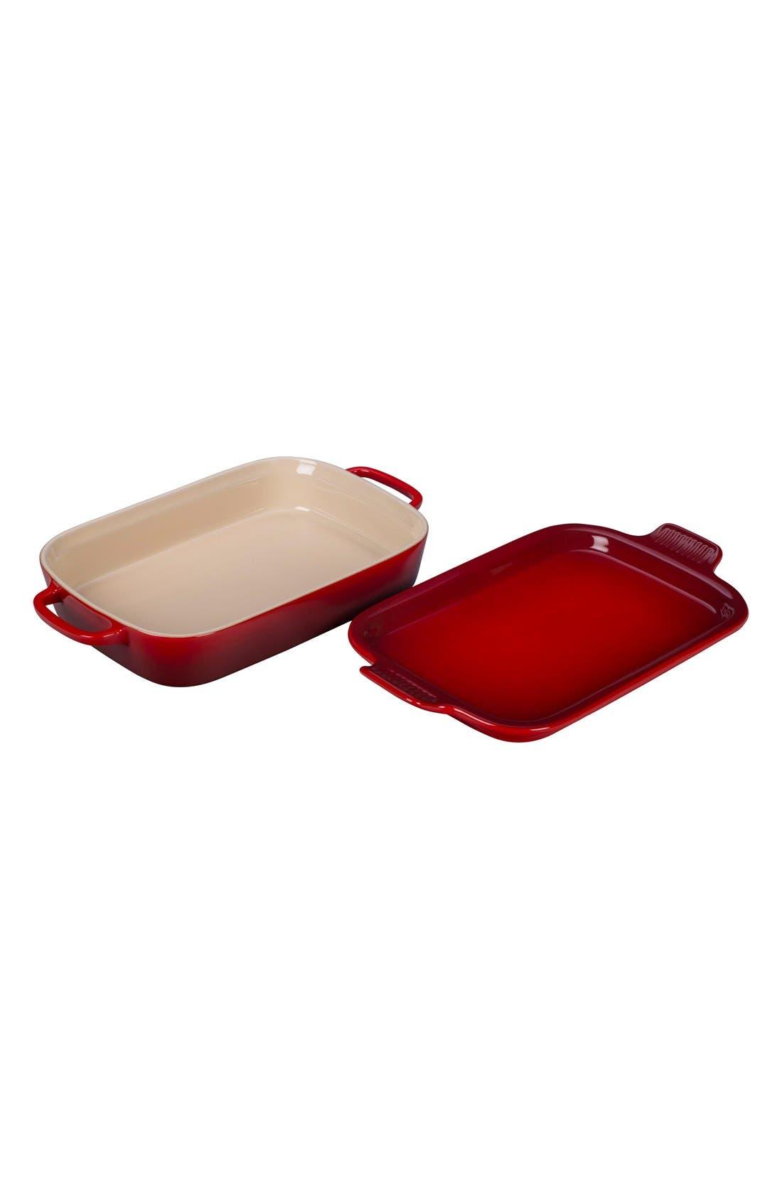 3 1/2 Quart Stoneware Casserole & Platter Lid,                             Alternate thumbnail 2, color,                             Cherry