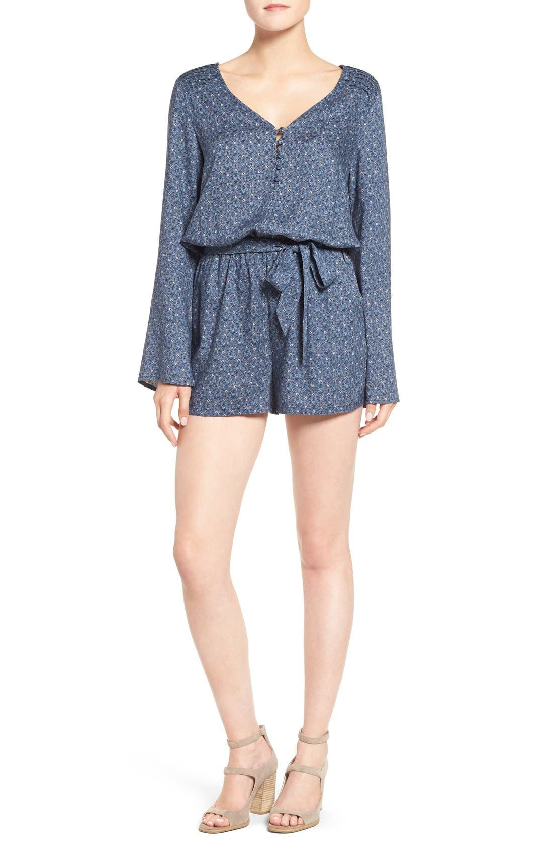 Main Image - Sanctuary 'Naomi' Bell Sleeve Floral Print Romper
