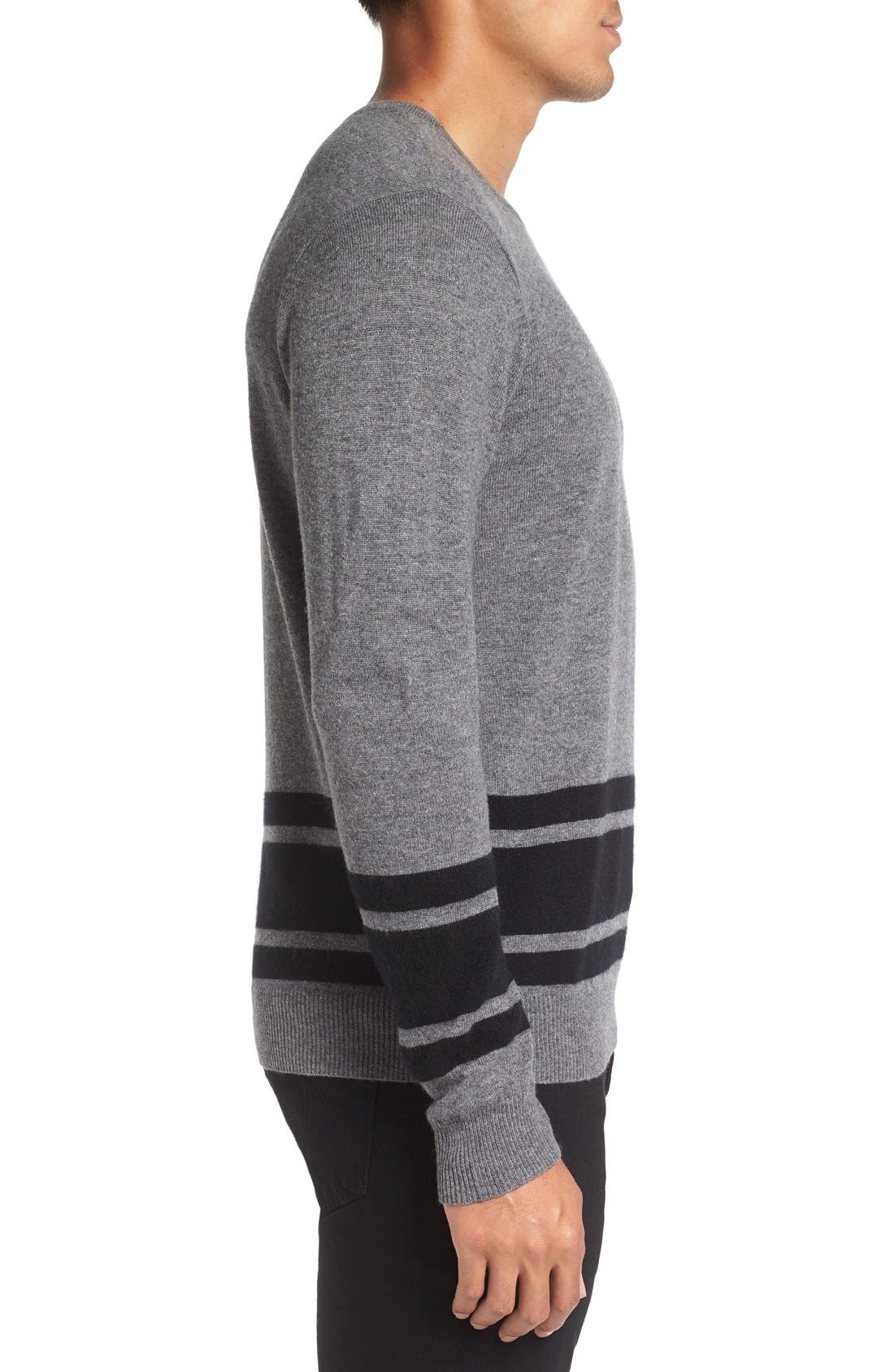 Stripe Wool Blend Sweater,                             Alternate thumbnail 3, color,                             Derby Grey/ Black