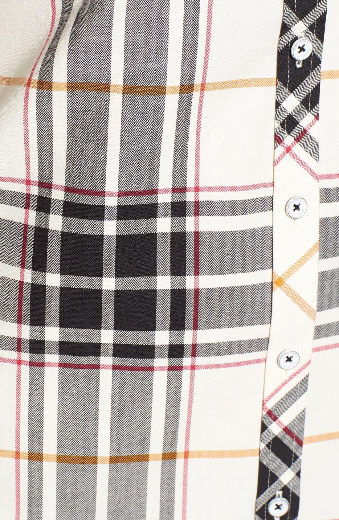 Alternate Image 5  - Foxcroft Herringbone Plaid Roll Sleeve Shirt (Regular & Petite)