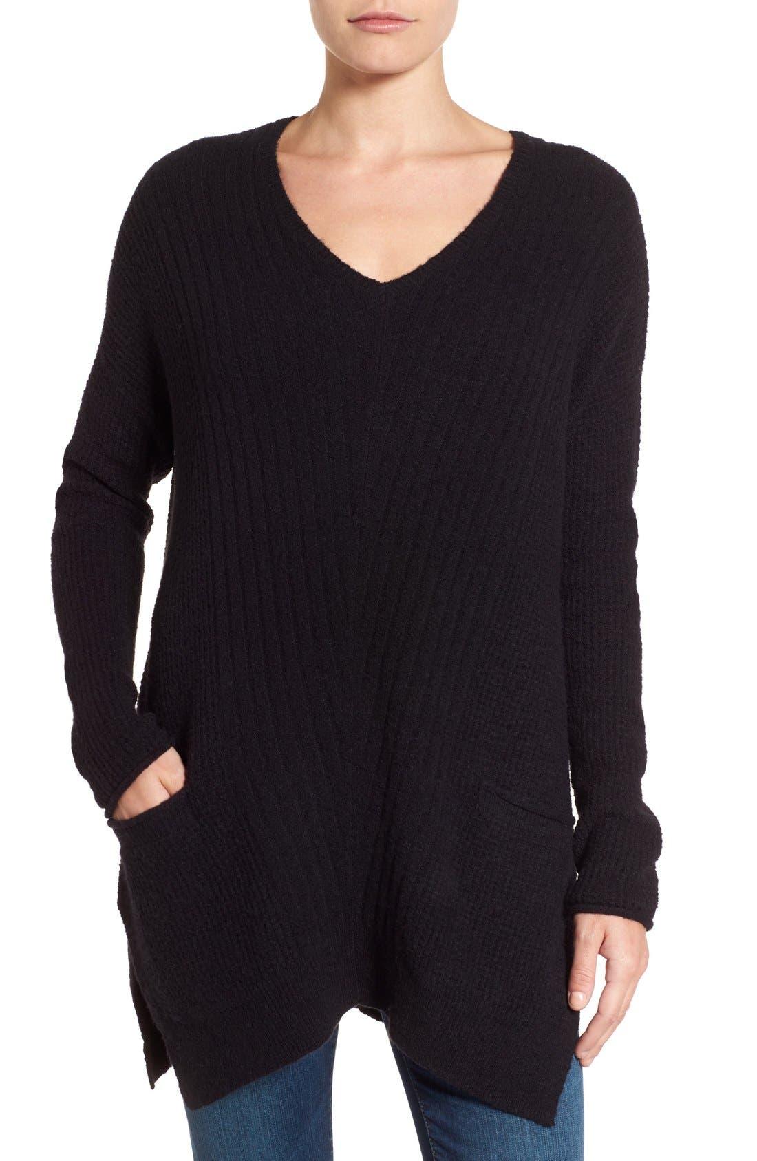 Main Image - Caslon® Long Shark Bite Hem Sweater (Regular & Petite)