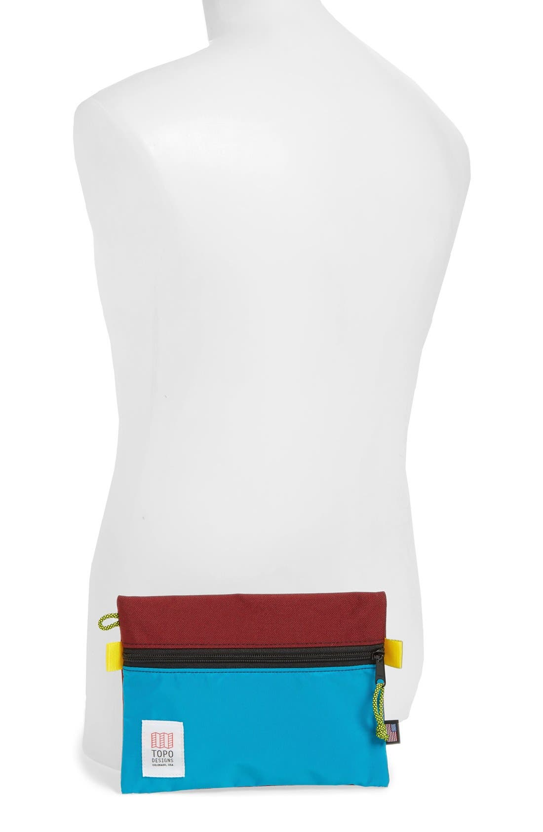 Topo Designs Accessory Bag,                             Alternate thumbnail 2, color,                             Burgundy/ Turquoise