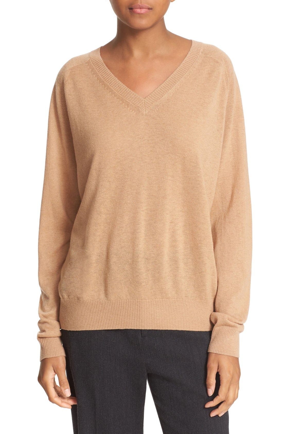 Alternate Image 1 Selected - Vince Relaxed Cashmere V-Neck Sweater