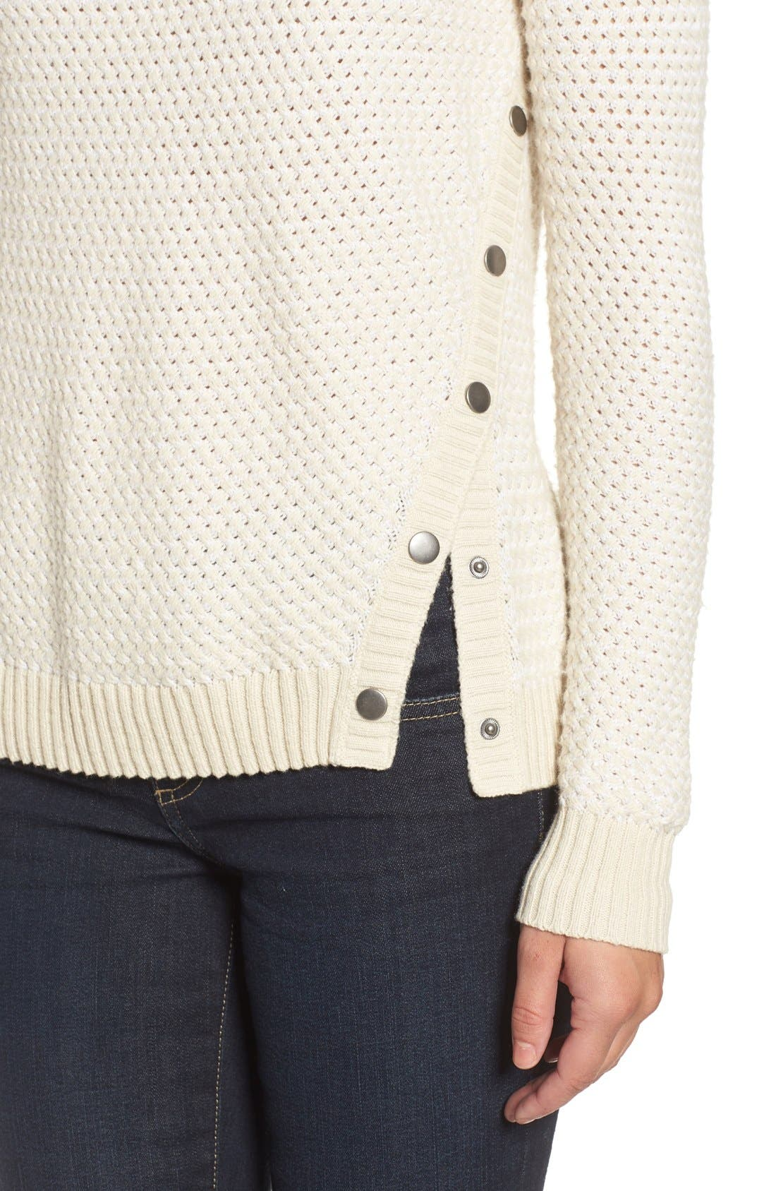 Side Snap Sweater,                             Alternate thumbnail 5, color,                             Beige- White Pattern