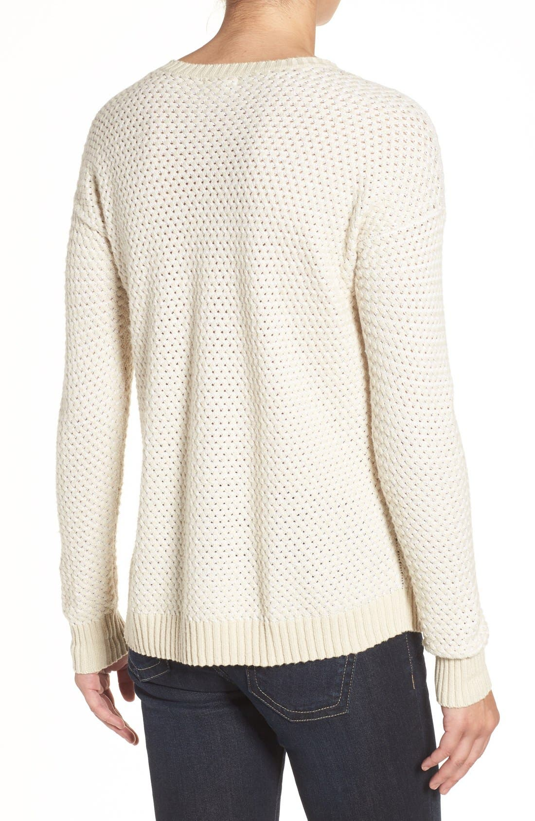 Side Snap Sweater,                             Alternate thumbnail 3, color,                             Beige- White Pattern