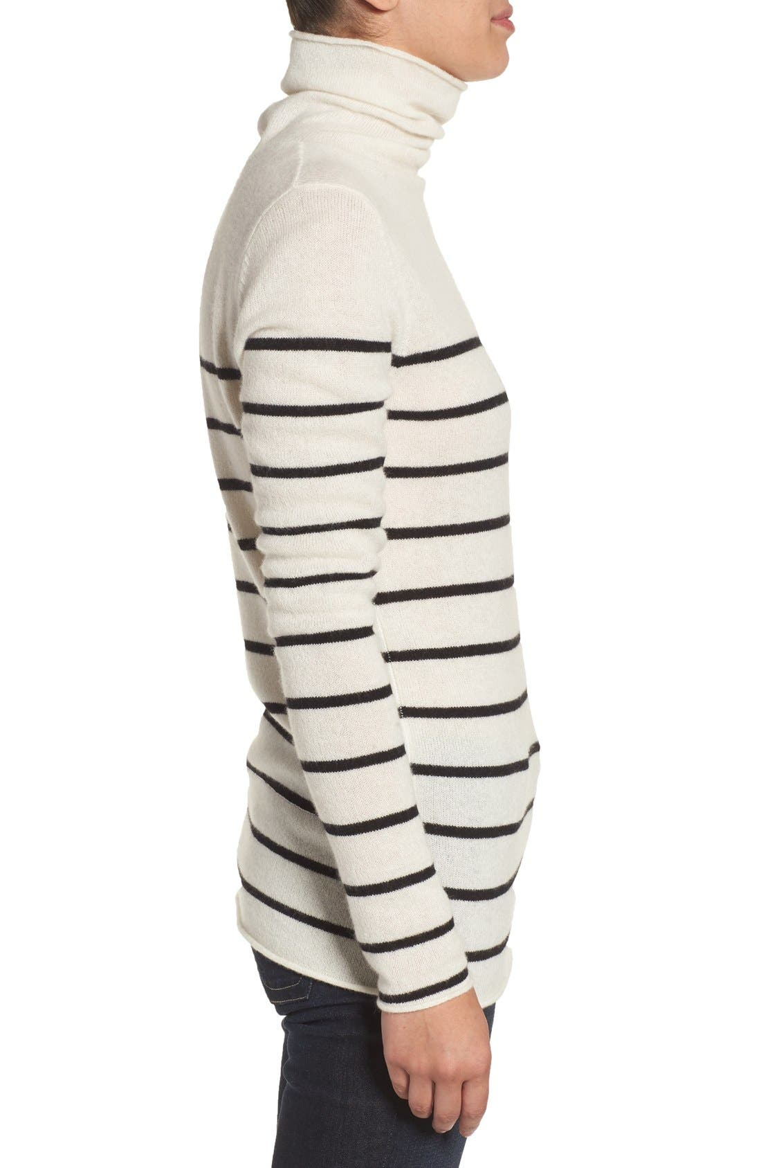 Wool & Cashmere Funnel Neck Sweater,                             Alternate thumbnail 3, color,                             Ivory- Black Stripe