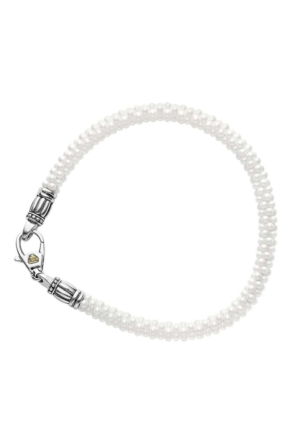 'Black & White Caviar' Bracelet,                             Alternate thumbnail 2, color,                             White/ Gold