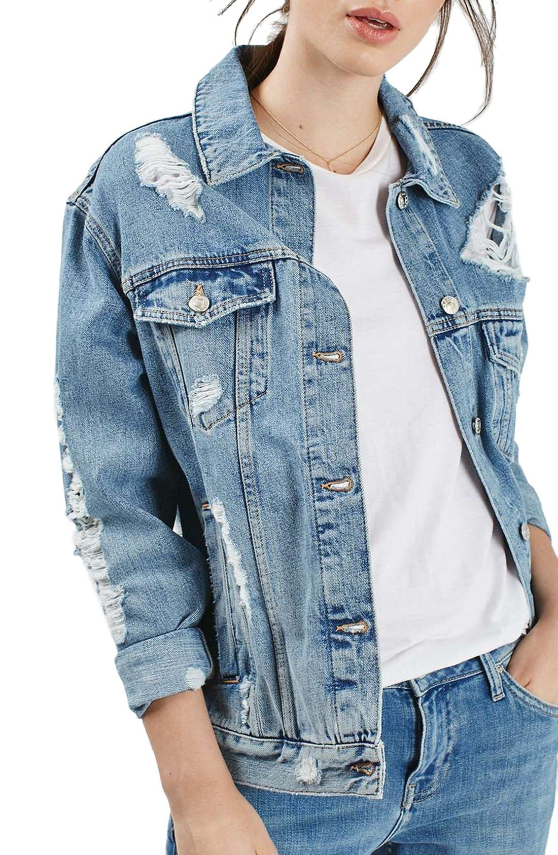 Alternate Image 1 Selected - Topshop Ripped Oversize Denim Jacket