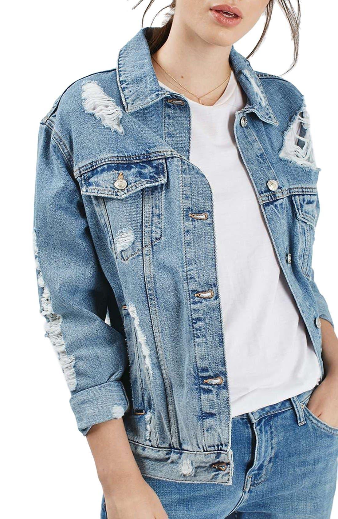 Main Image - Topshop Ripped Oversize Denim Jacket