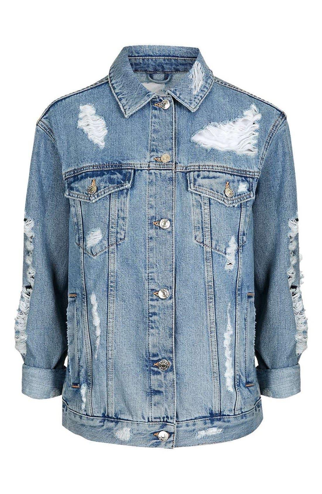 Alternate Image 3  - Topshop Ripped Oversize Denim Jacket