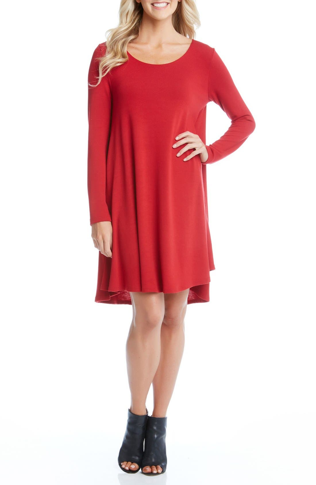 'Maggie' Trapeze Sweater Dress,                             Main thumbnail 1, color,                             Red