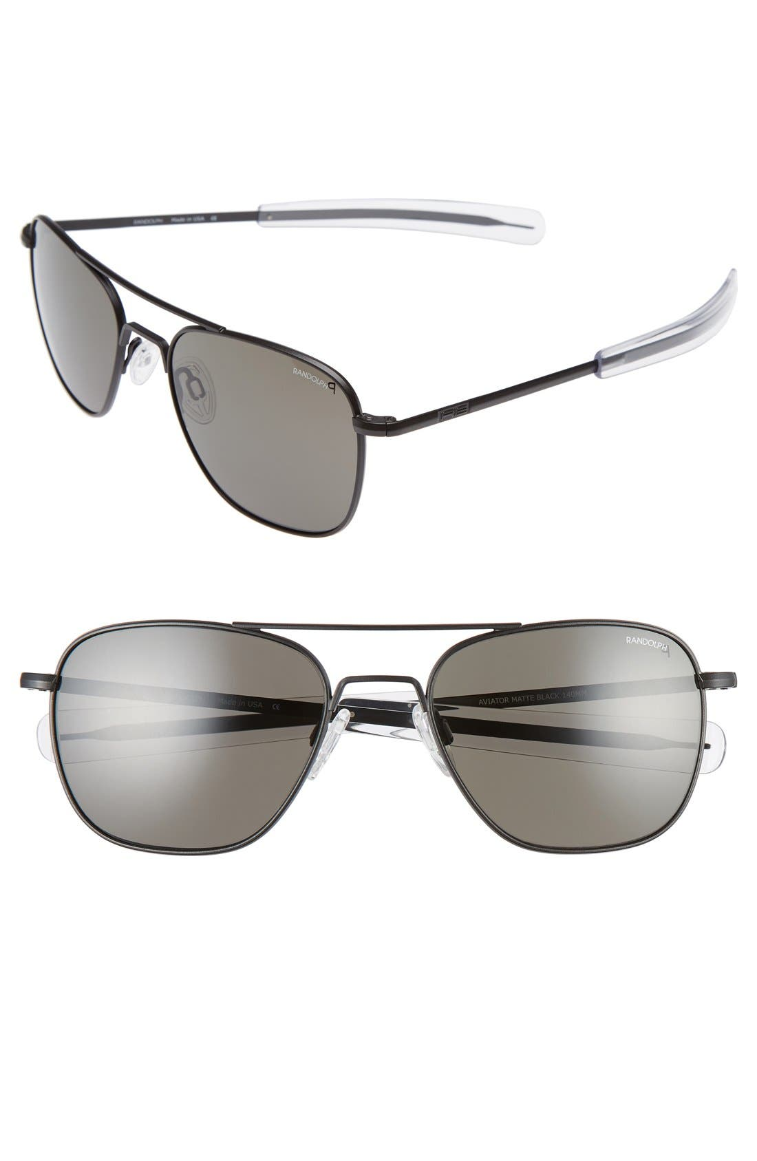 55mm Polarized Aviator Sunglasses,                         Main,                         color, Matte Black