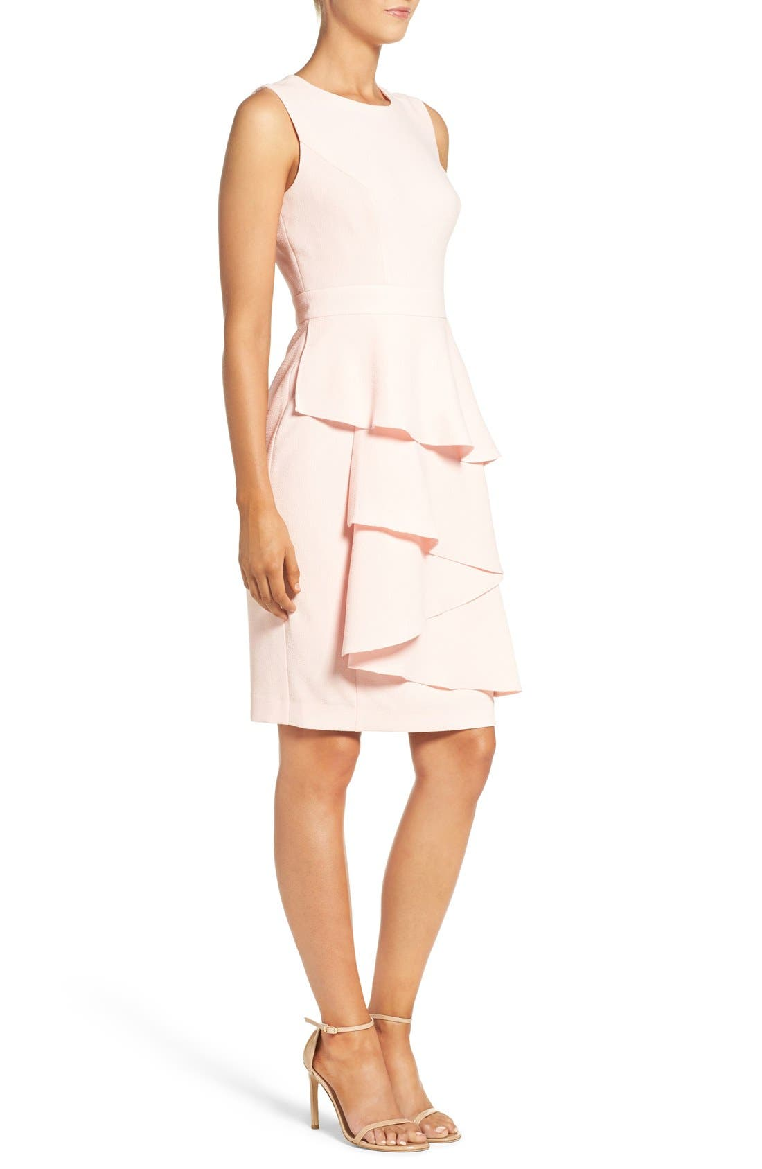 Ella Cascade Crepe Sheath Dress,                             Alternate thumbnail 4, color,                             Blush
