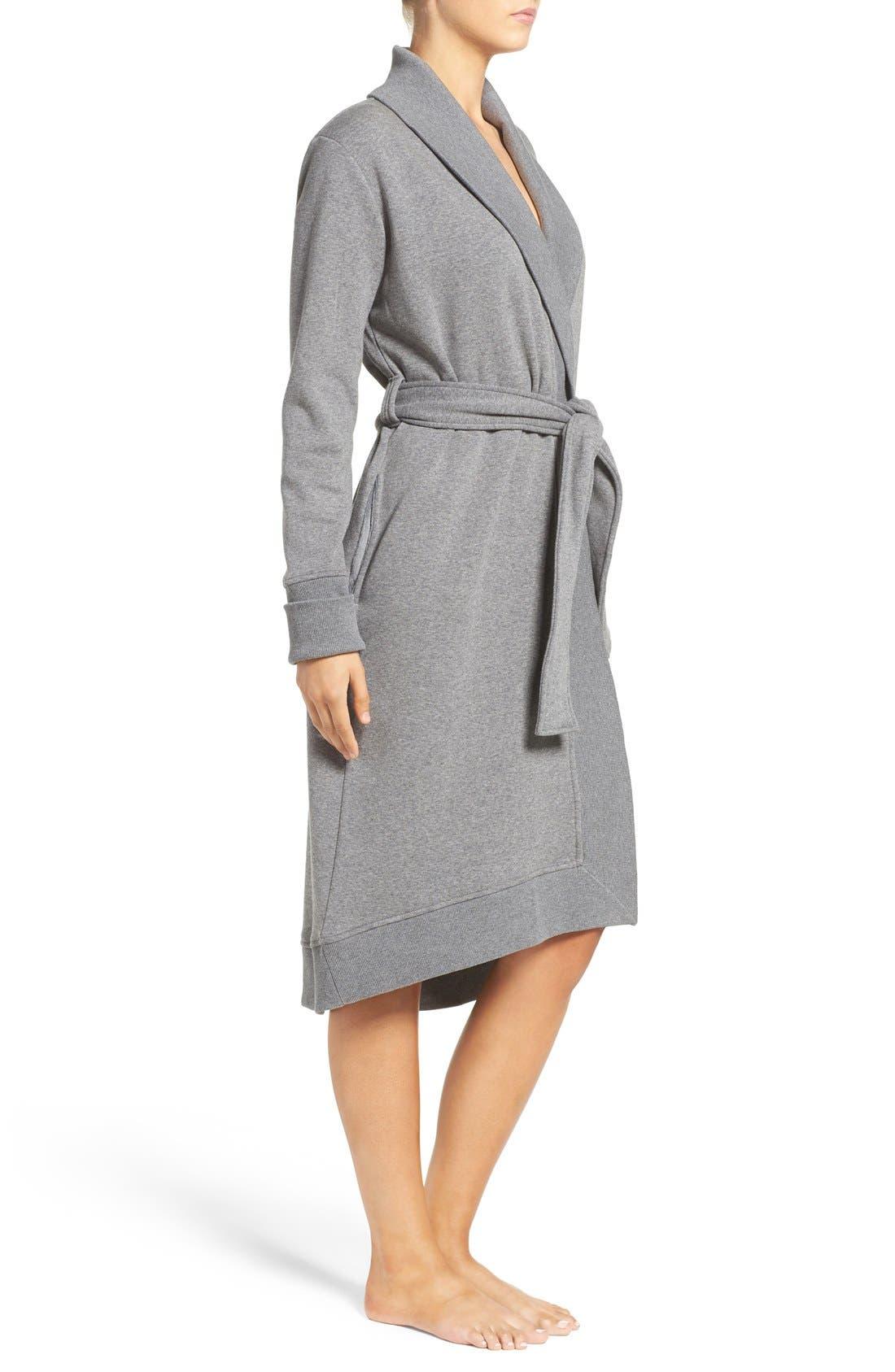 'Karoline' Fleece Robe,                             Alternate thumbnail 3, color,                             Charcoal Heather