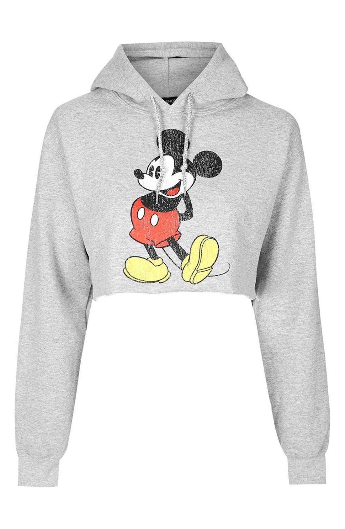Alternate Image 5  - Topshop Mickey Graphic Crop Hoodie