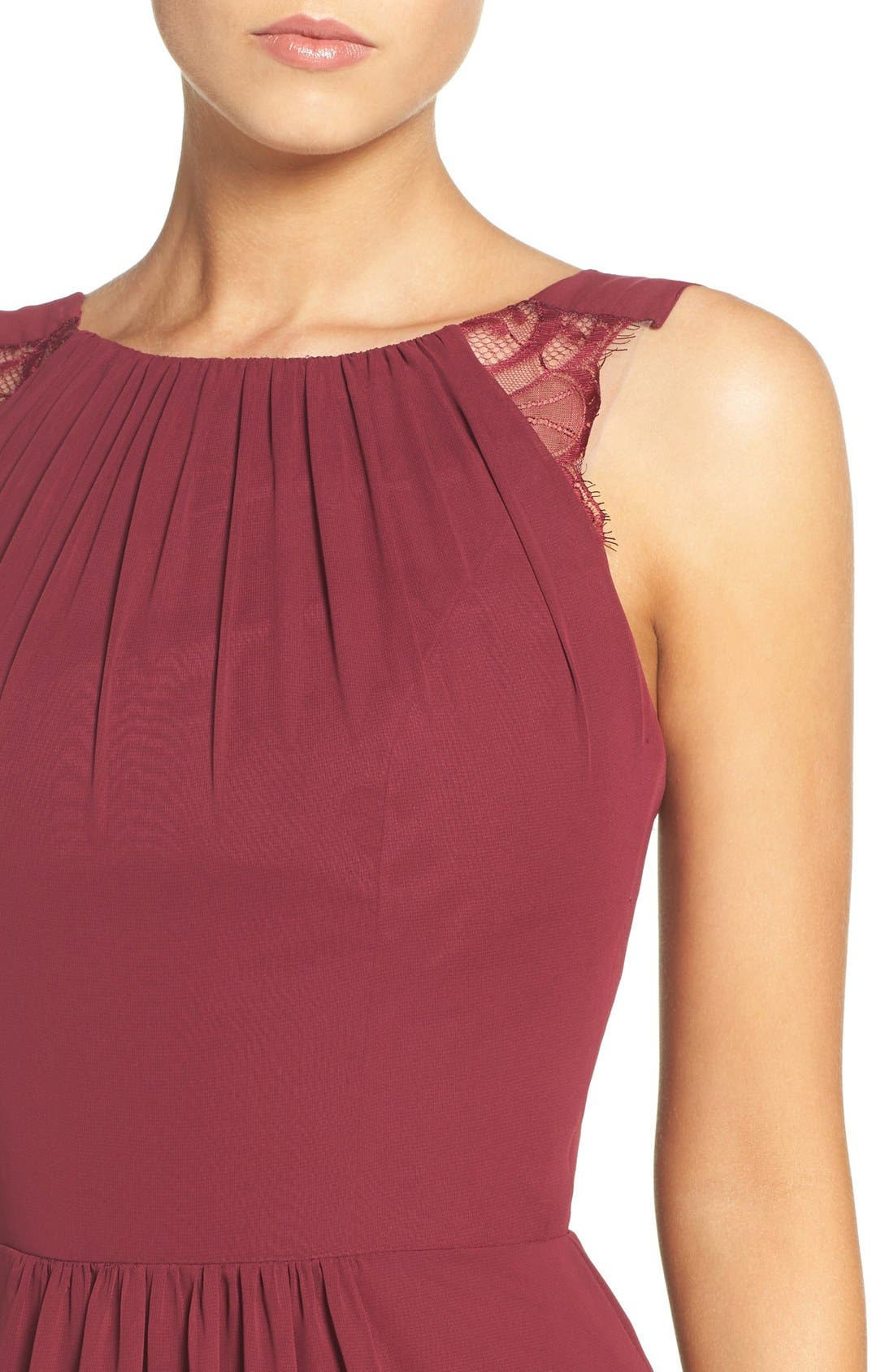 Lace Strap Gathered Chiffon Gown,                             Alternate thumbnail 4, color,                             Burgundy/ Burgundy