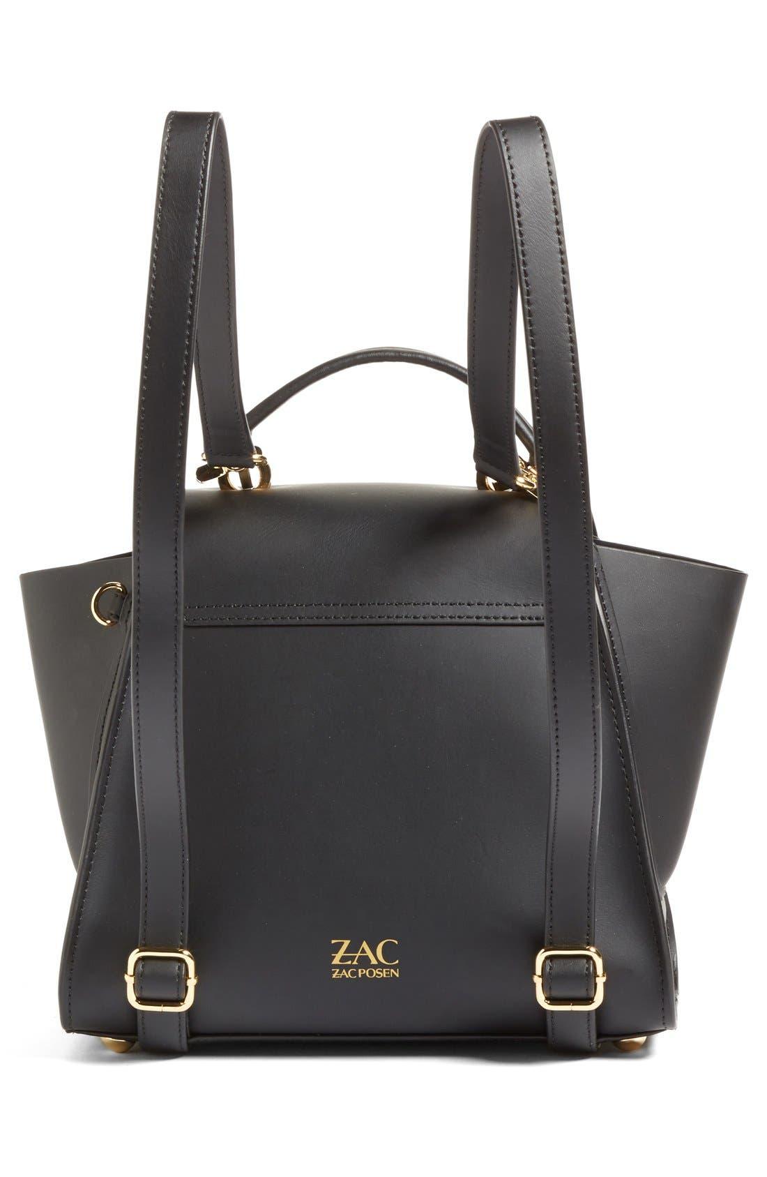 'Eartha Iconic' Leather Backpack,                             Alternate thumbnail 3, color,                             Black