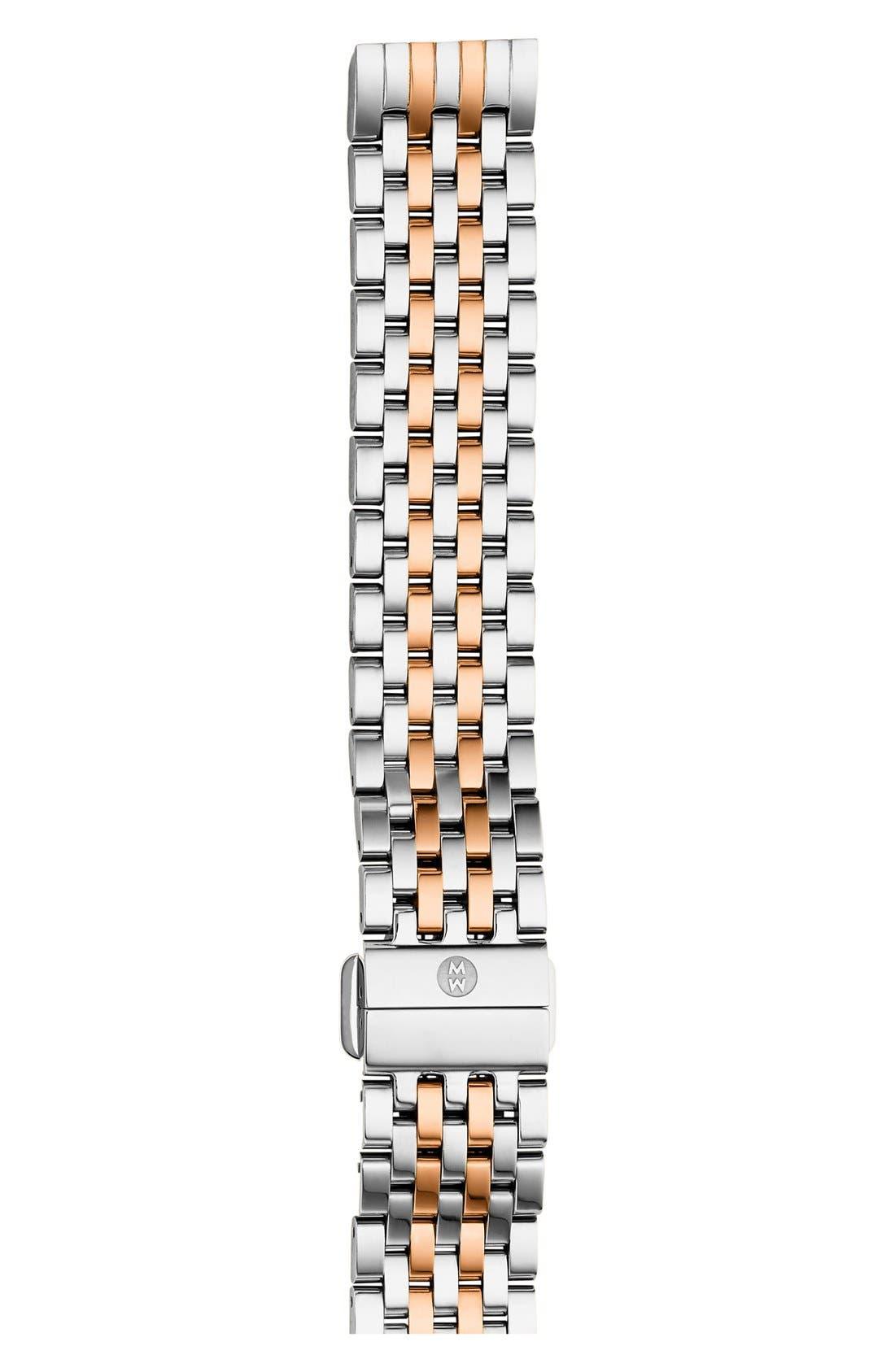 'Deco II' 16mm Bracelet Watch Strap,                         Main,                         color, Silver/ Rose Gold