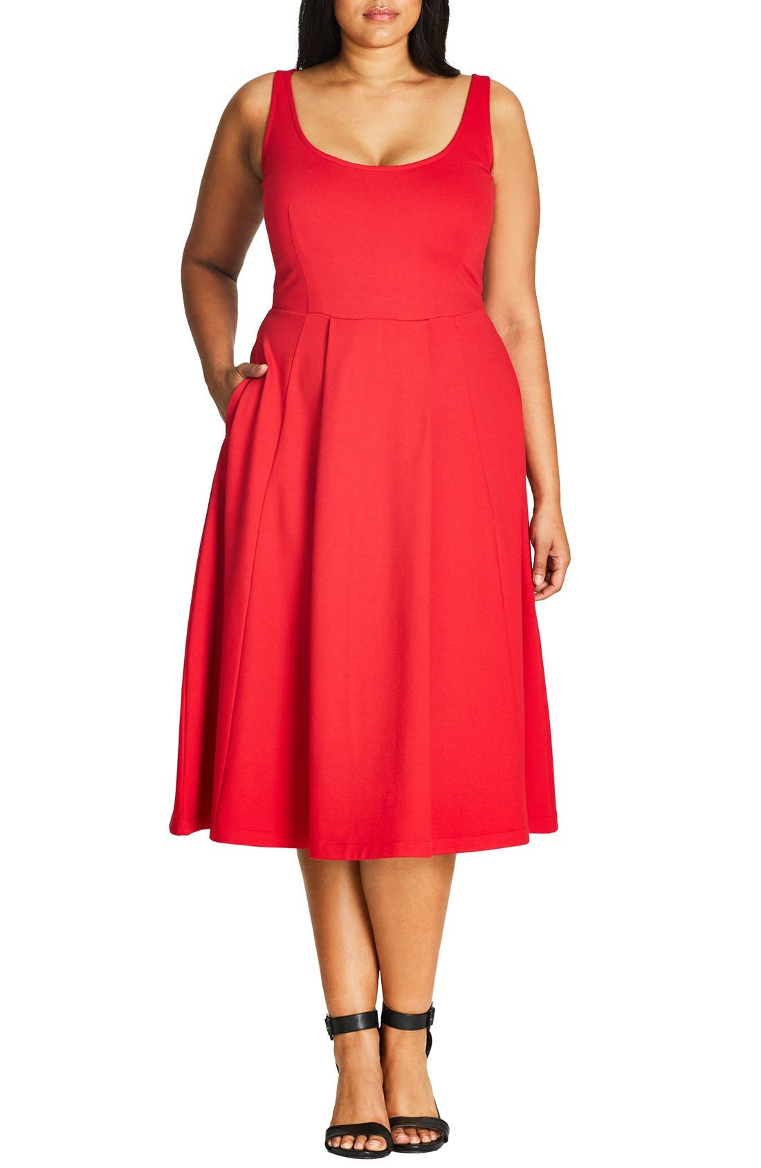Classic Longline Scoop Neck Midi Dress,                         Main,                         color, Cherry Red