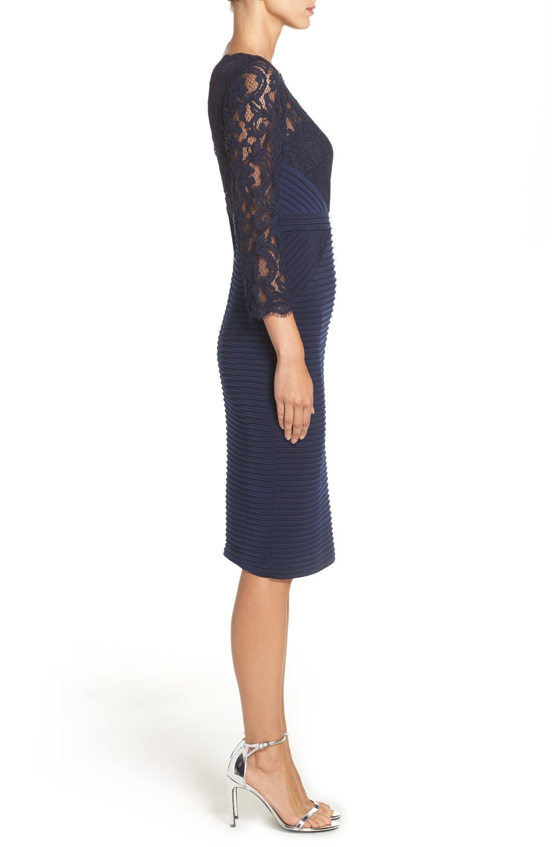Lace & Jersey Sheath Dress,                             Alternate thumbnail 3, color,                             Midnight