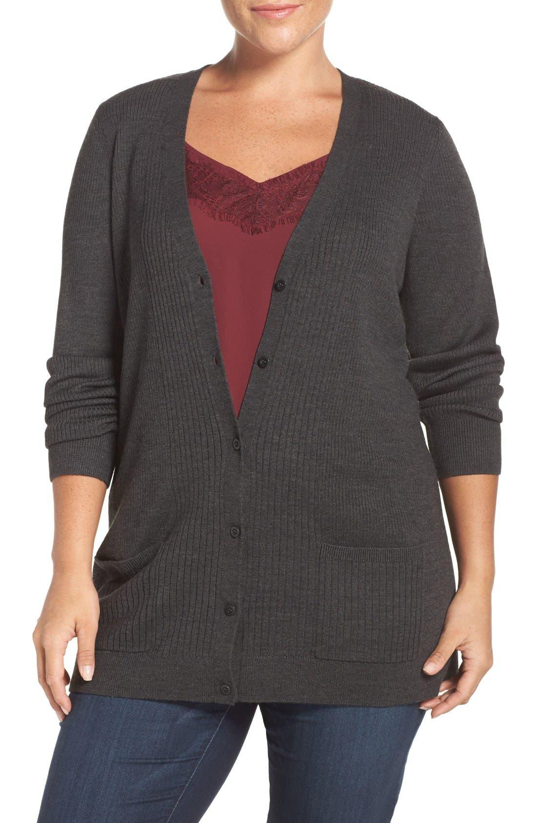 Ribbed V-Neck Cardigan,                         Main,                         color, Grey Dark Charcoal Heather