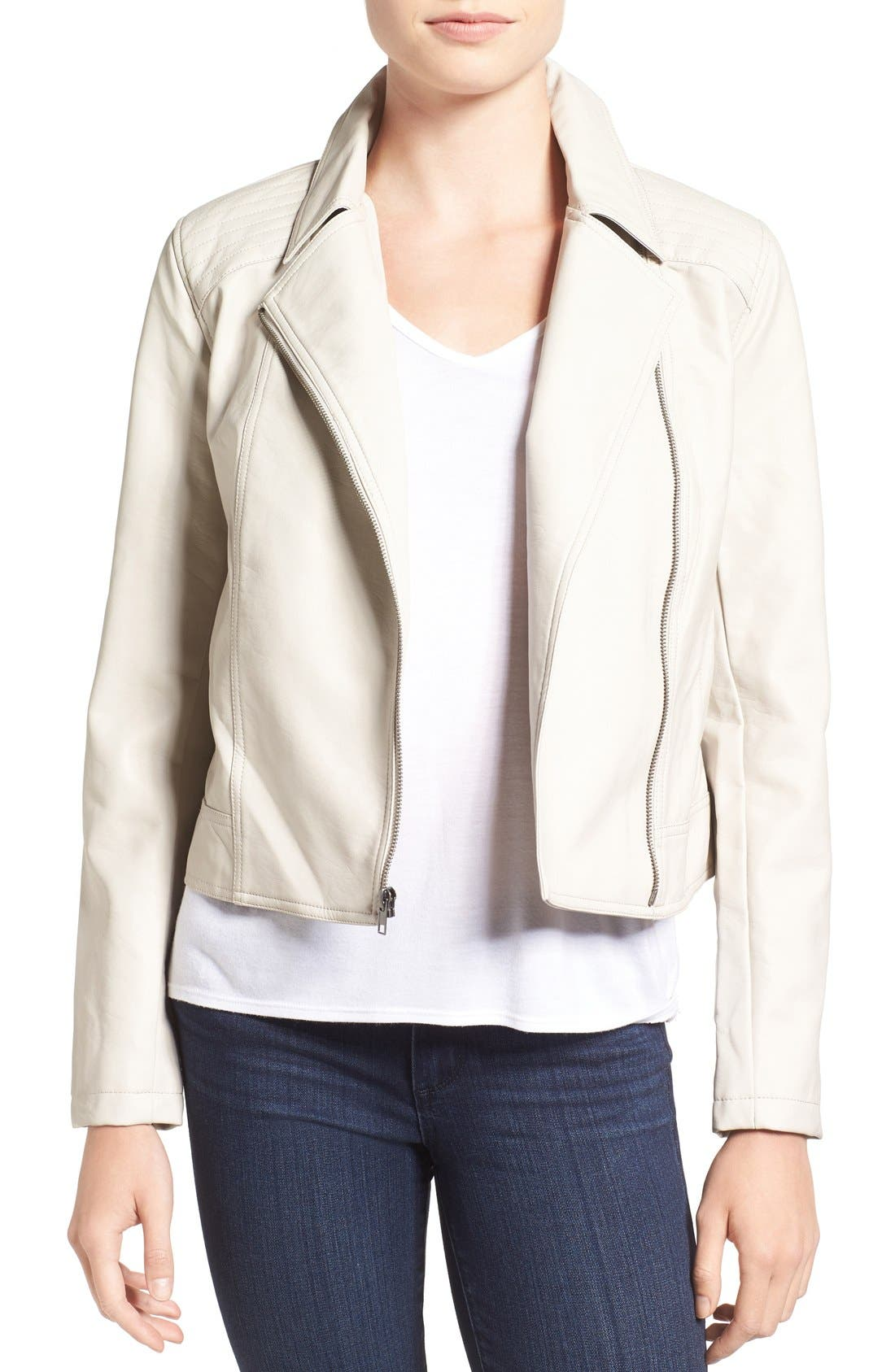 Main Image - cupcakes and cashmere 'Joslyn' Faux Leather Moto Jacket