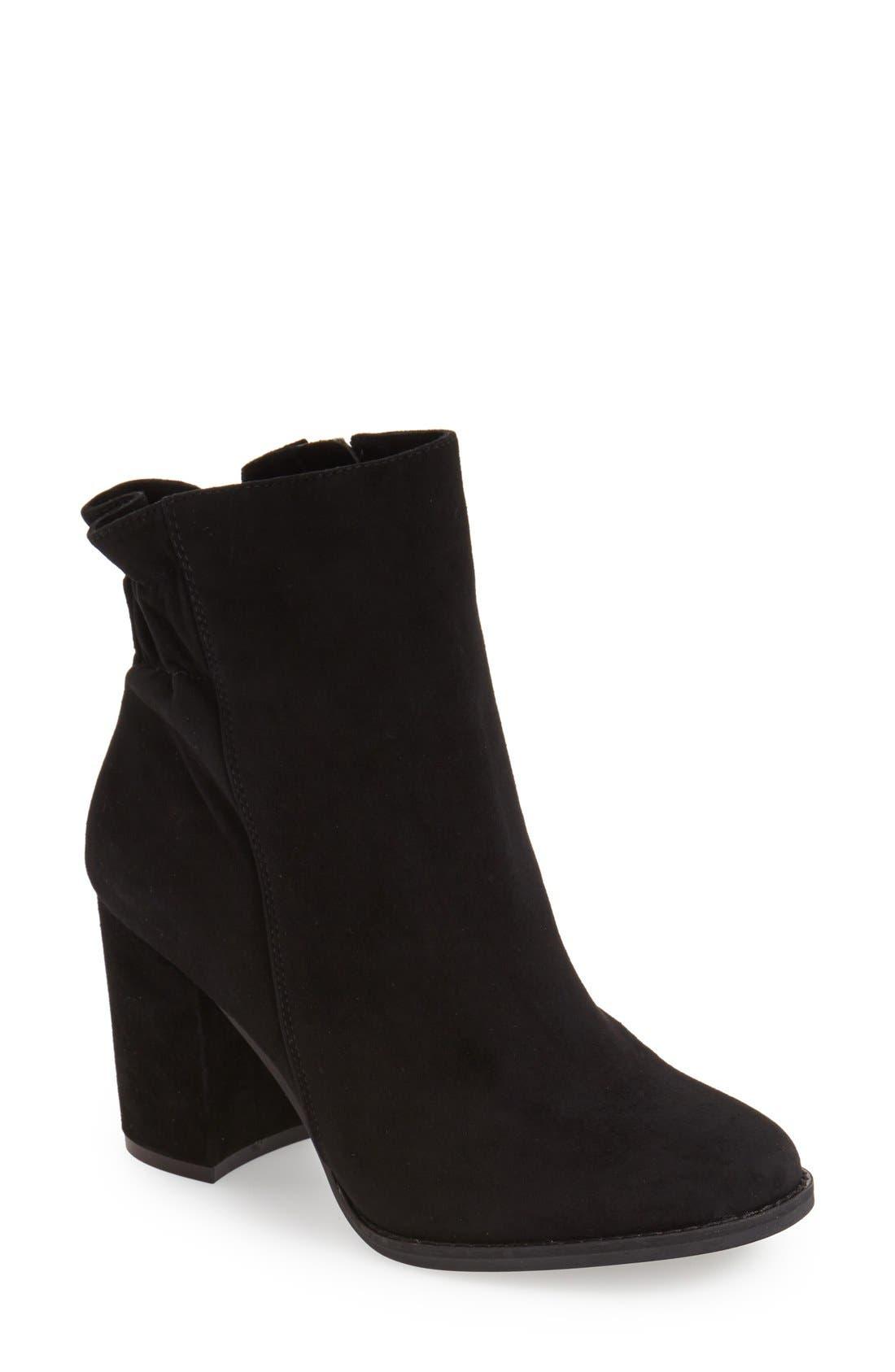 'Rakel' Gathered Heel Zip Bootie,                         Main,                         color, Black Suede